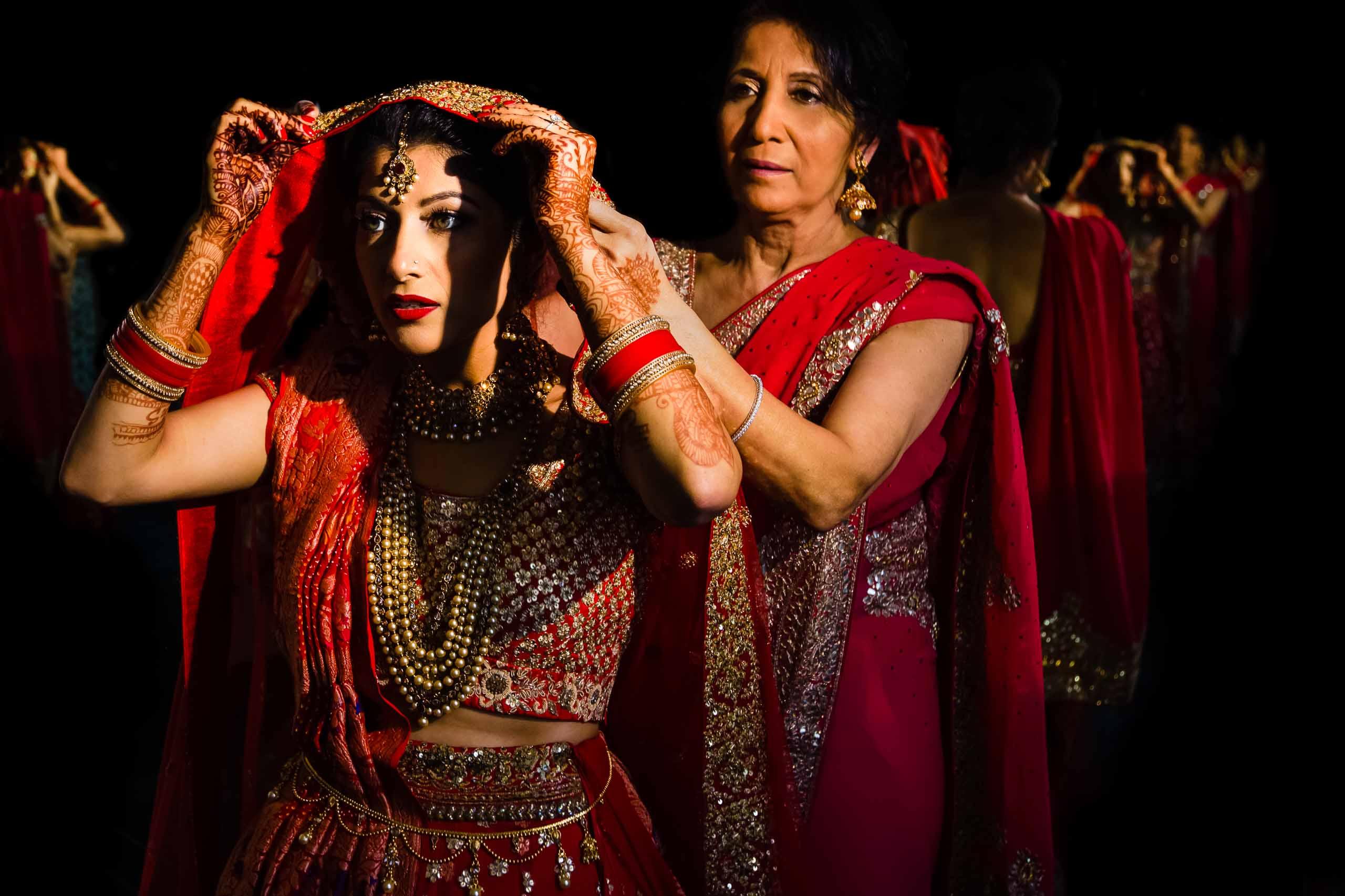 Beautiful Indian wedding getting ready for her Portland Art Museum wedding