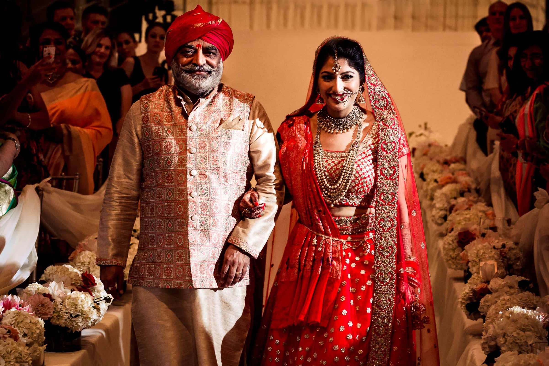 Indian bride entering ceremony at Portland Art Museum wedding