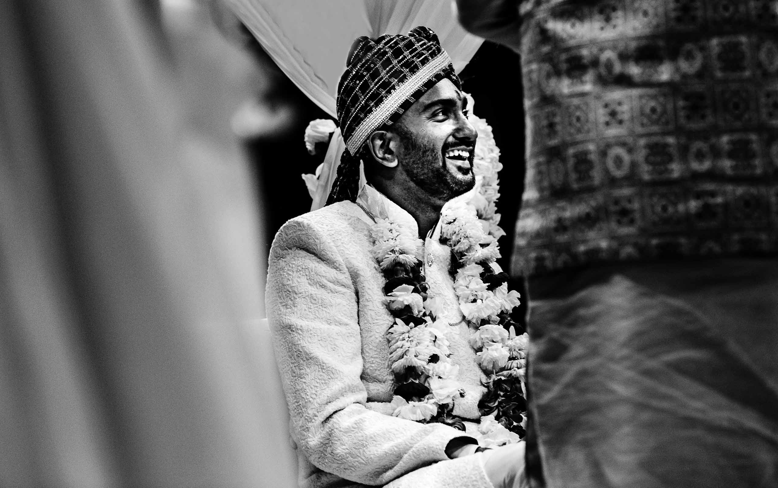 Indian groom during Portland Art Museum wedding