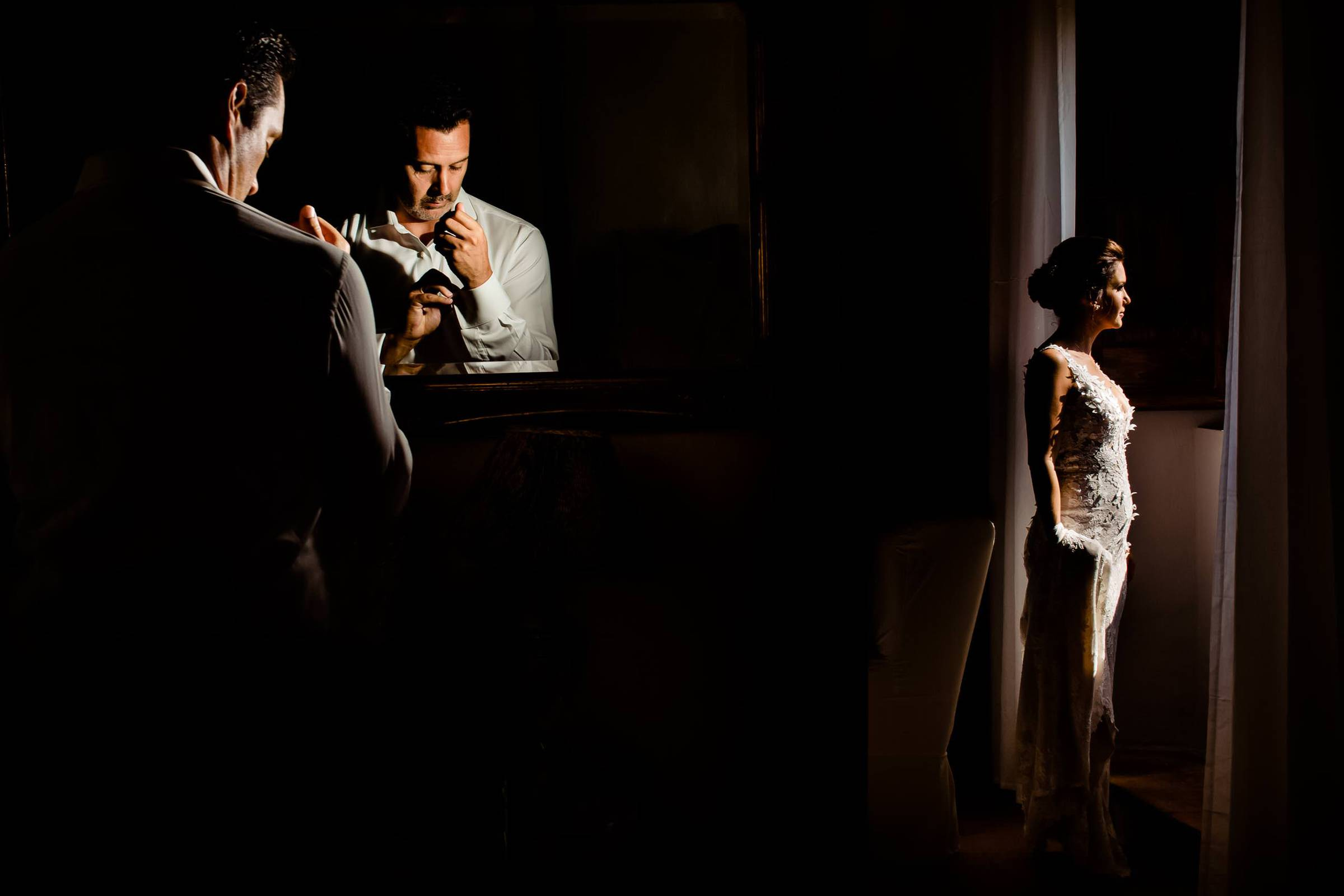 Bride and groom getting ready during a Villa Tre Grazie wedding celebration near Todi, Italy.