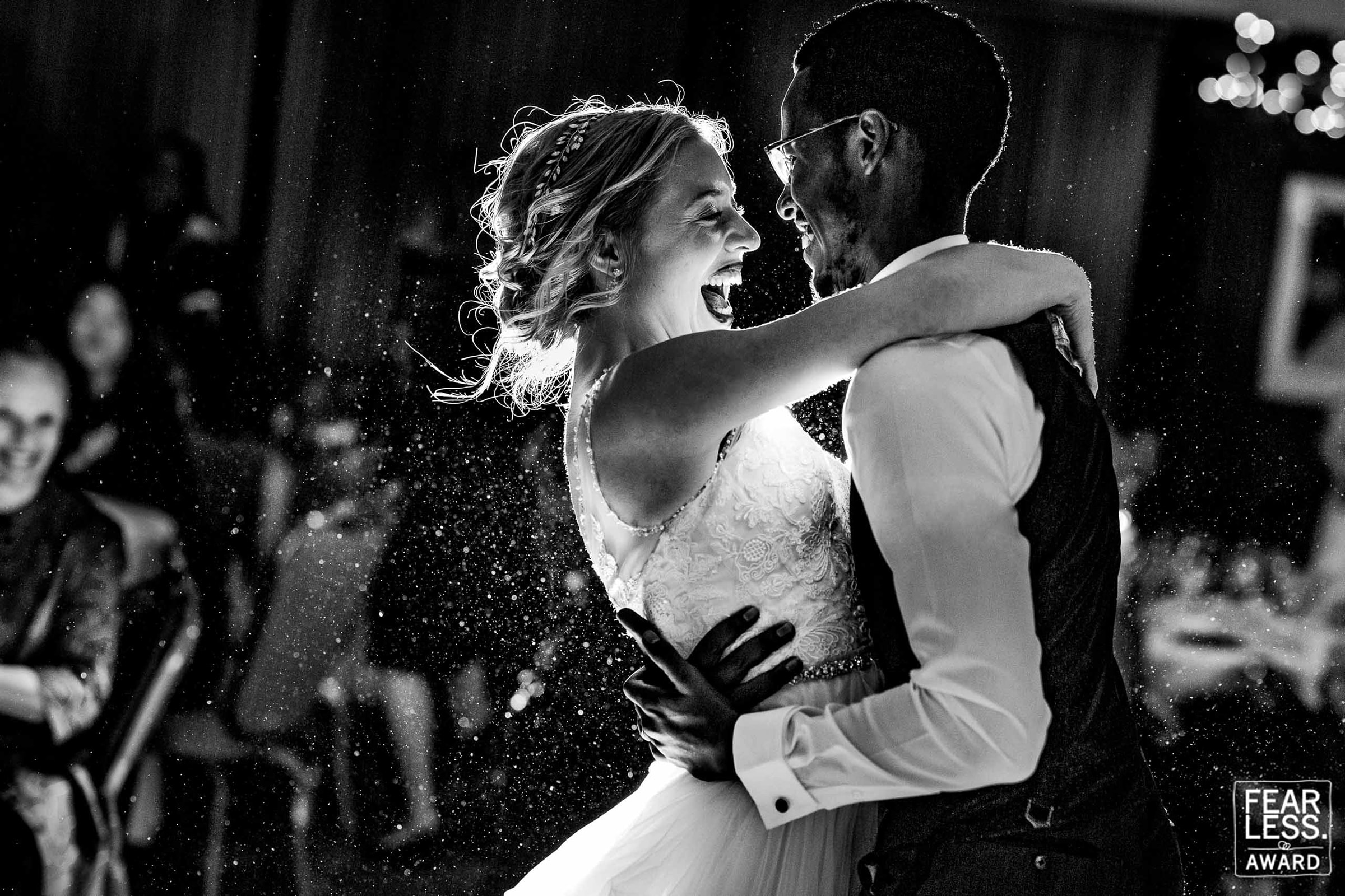 Fearless Photographers Award winning photo of a bride and groom first dance during their Timberline Lodge Wedding on Mt Hood in Oregon