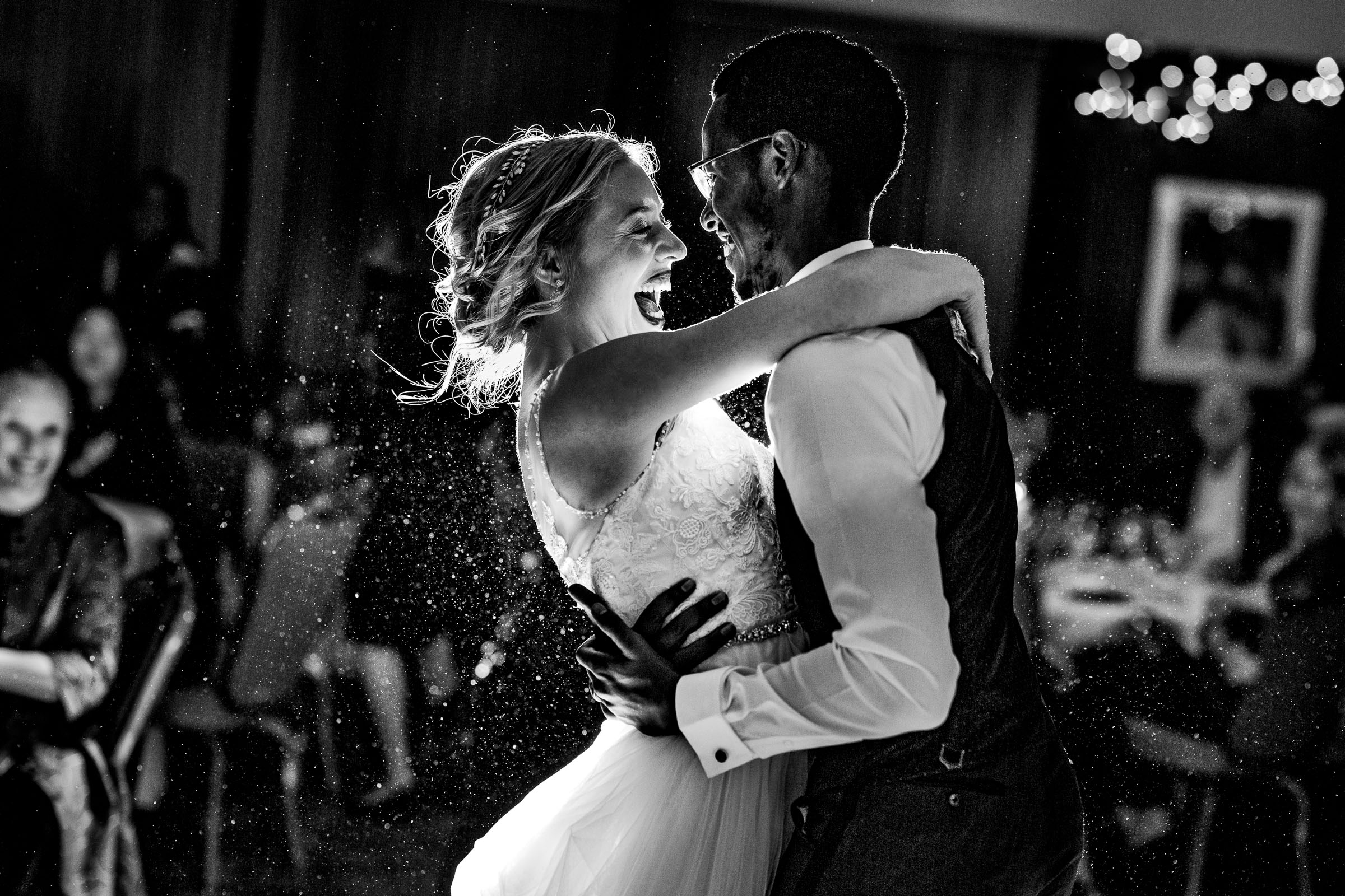 Brilliant moment with bride and groom first dance at their Timberline Lodge wedding