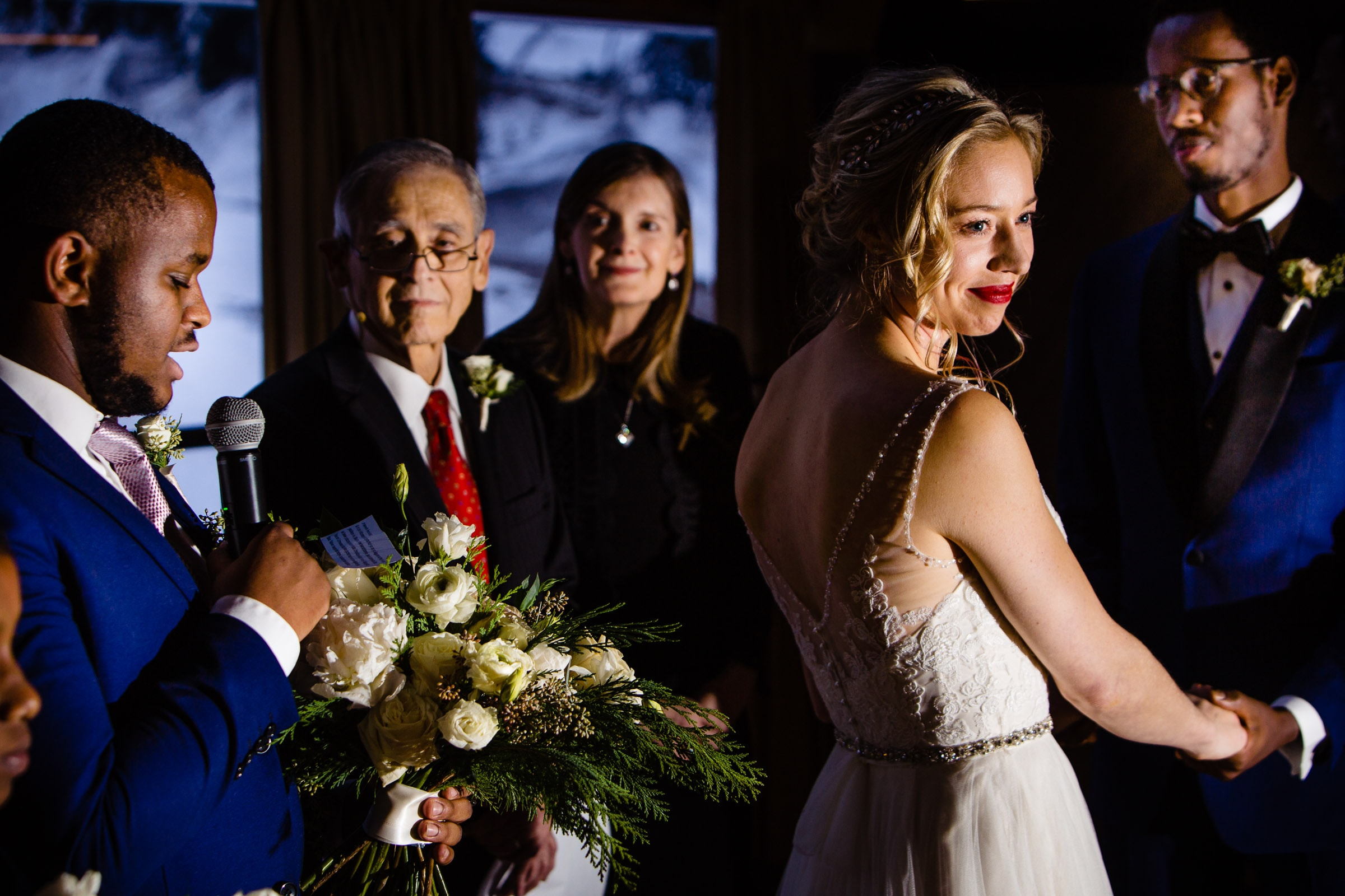 Beautiful capture of a bride during a Timberline Lodge Wedding ceremony