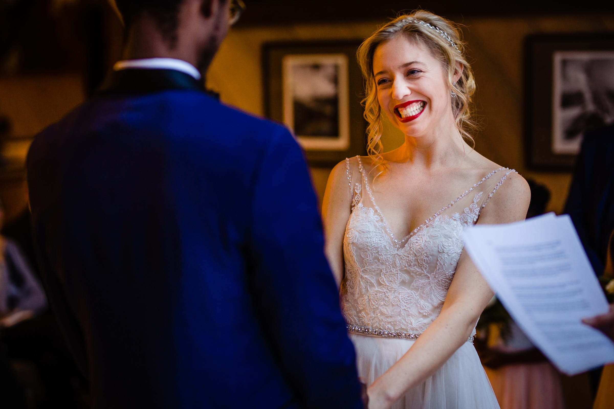 Happy bride in a Timberline Wedding Ceremony in the Ravens Nest