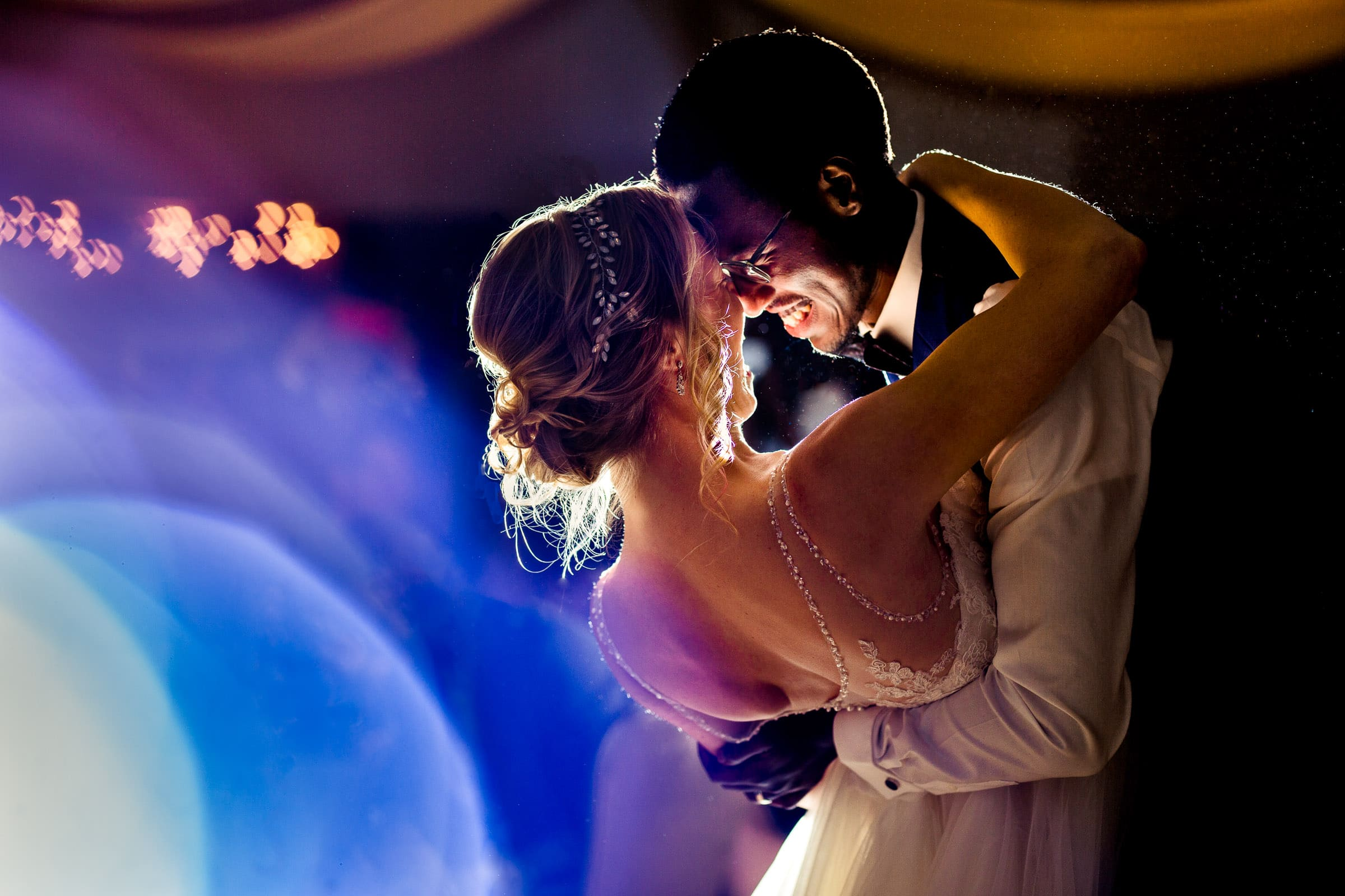 exquisite photo with abstract light of bride and groom first dance at their Timberline Loge Wedding reception