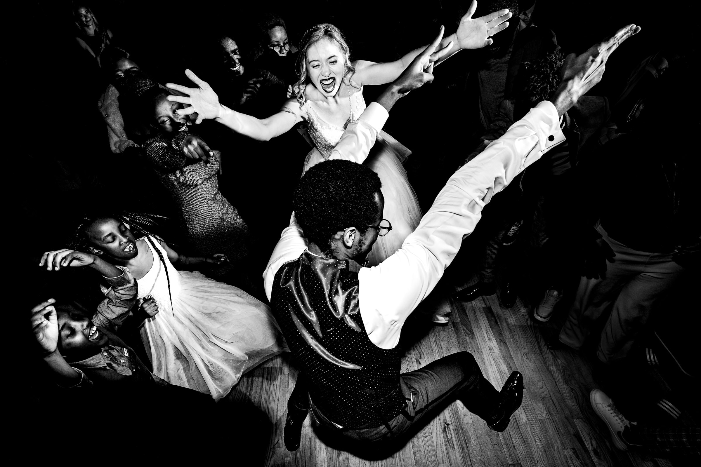 Crazy fun bride and groom dancing at their Timberline Lodge Wedding reception