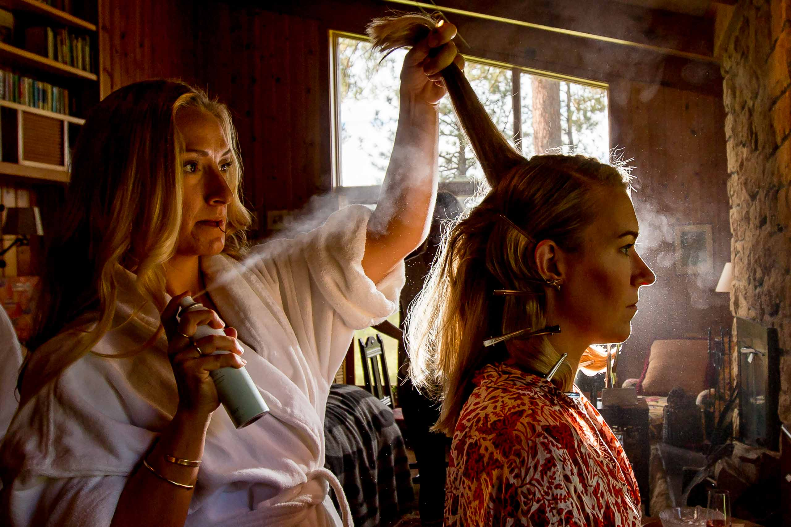 Bride getting ready for her House on Metolius wedding in Central Oregon near Bend