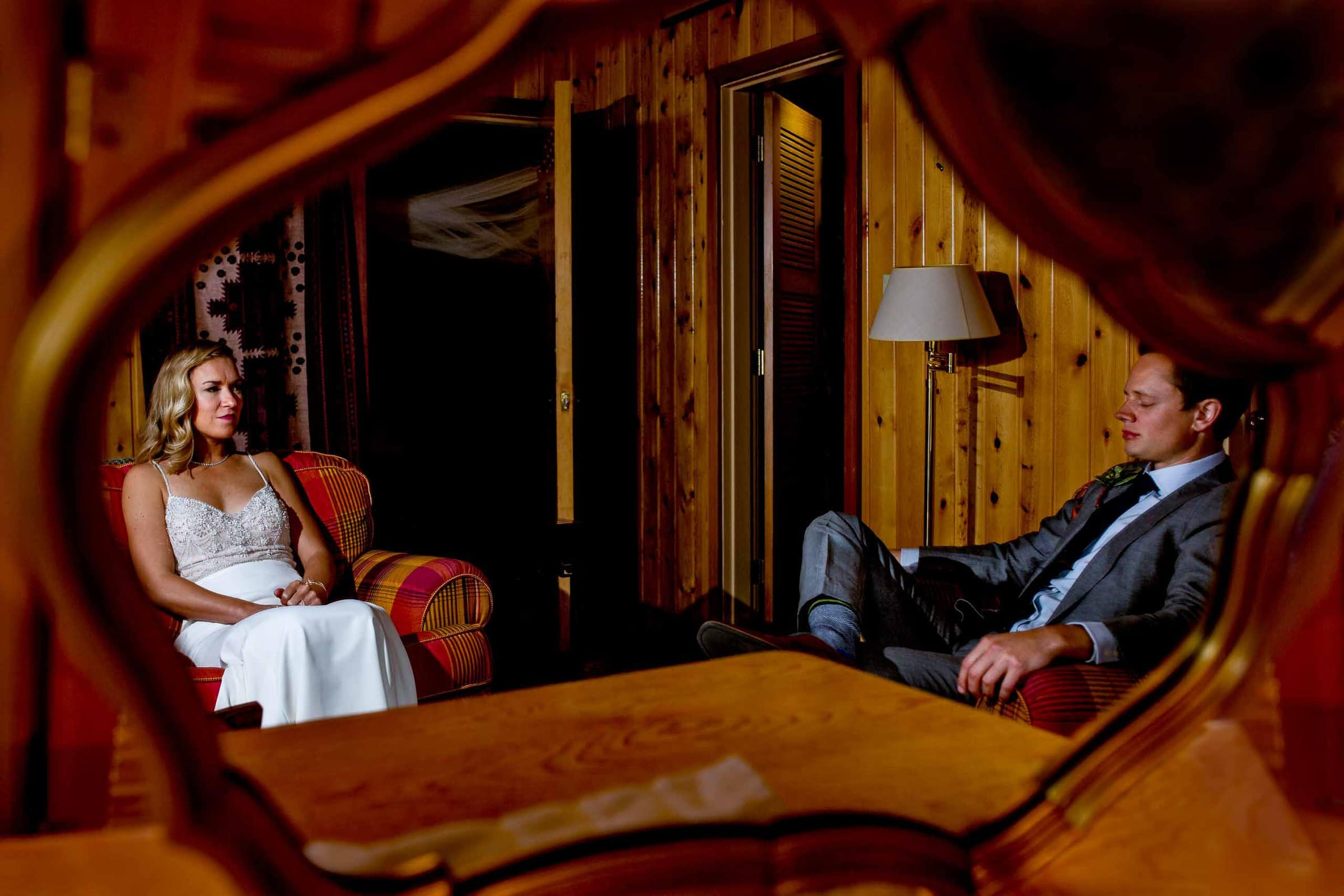 Bride and groom having a quiet moment before their House on Metolius wedding ceremony