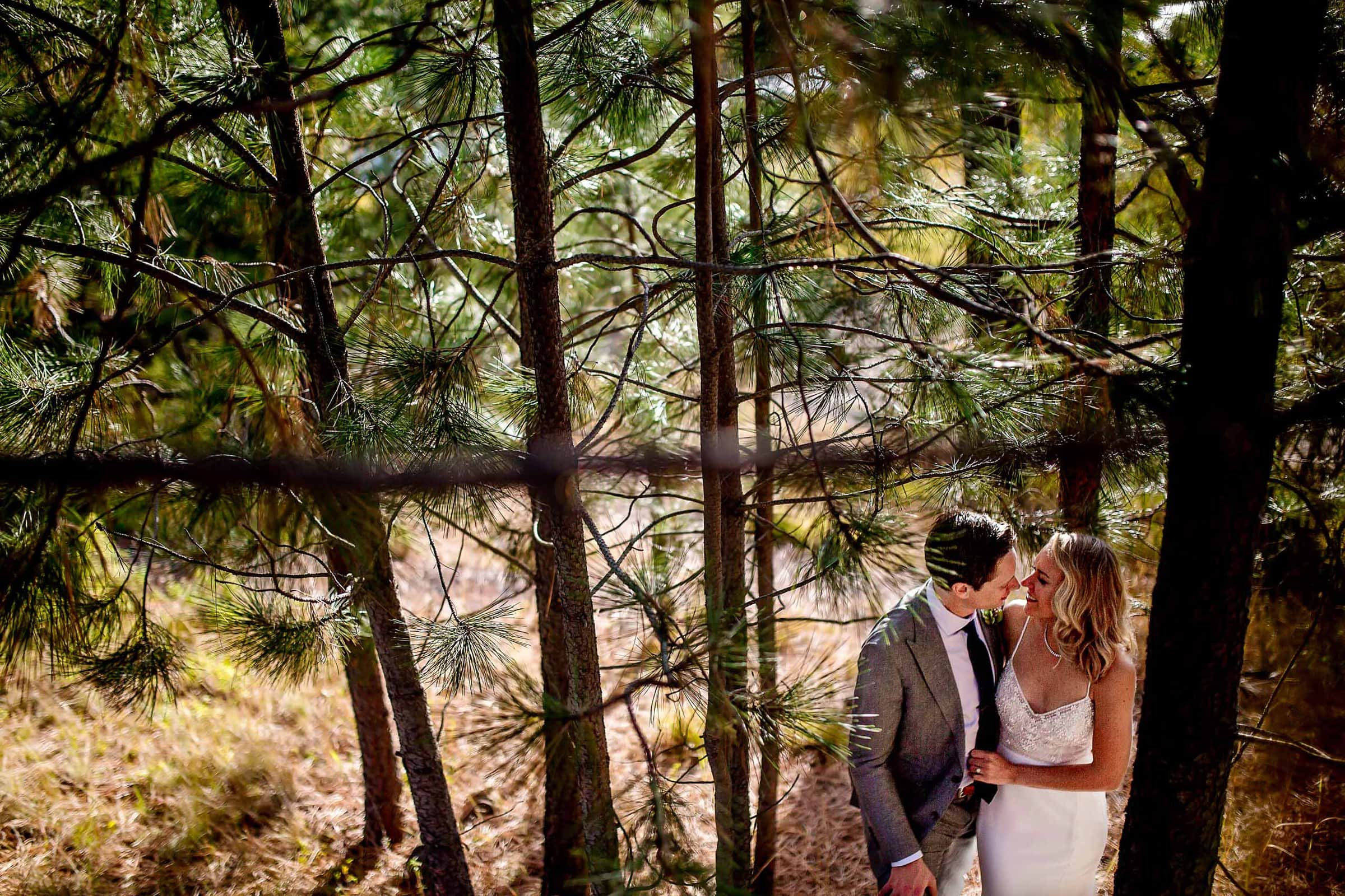 Creative Portrait of bride and groom during their House on Metolious wedding