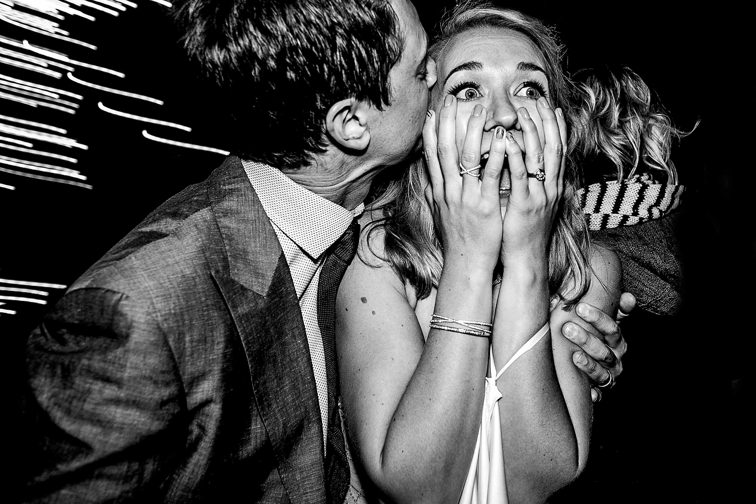 Award winning Fearless Photographers photo of an ecstatic bride at her House on Metolius Wedding reception