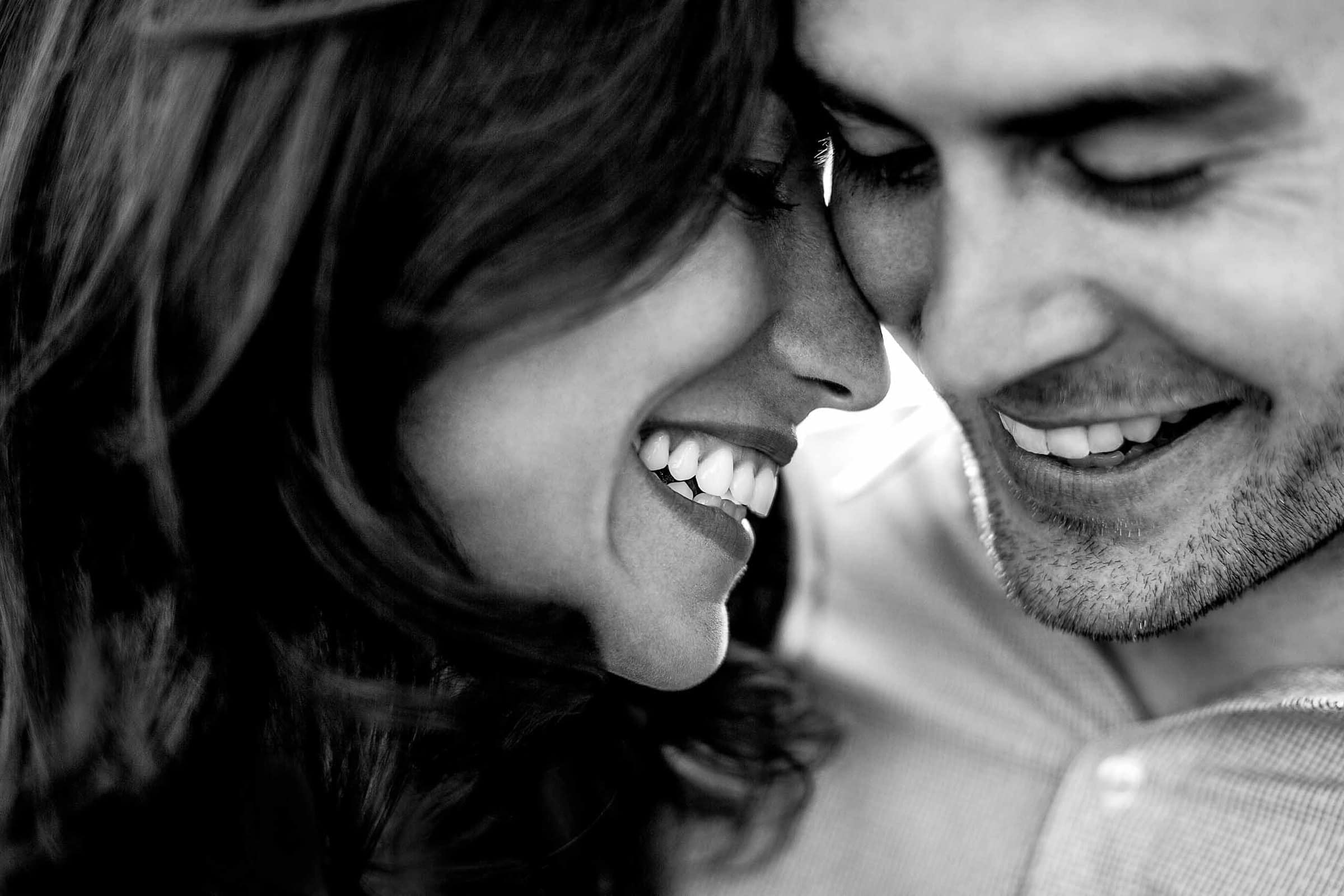 Intimate portrait of a couple during their Paris engagement photos.