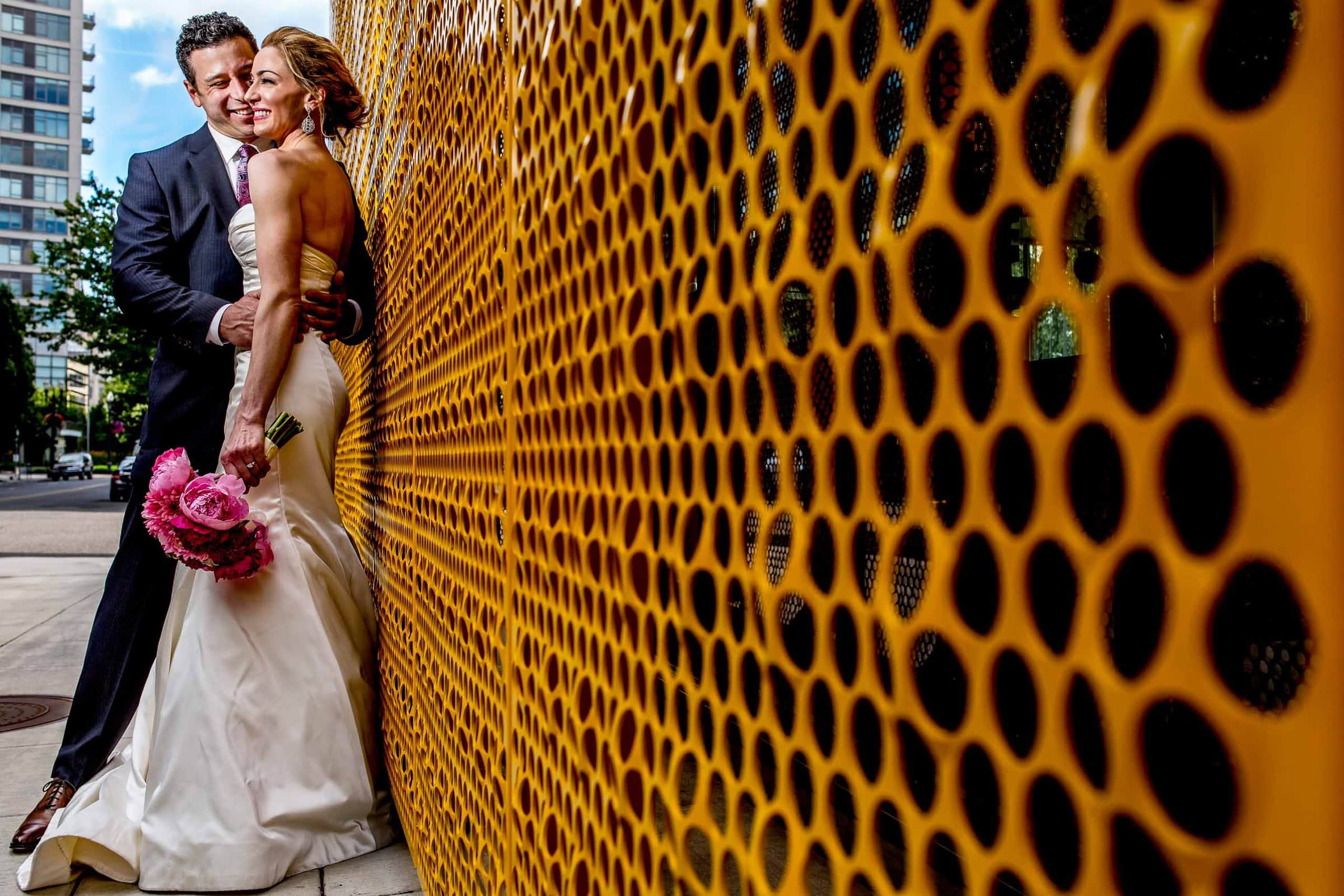 Bride and groom creative portrait in Portland before their EcoTrust wedding ceremony