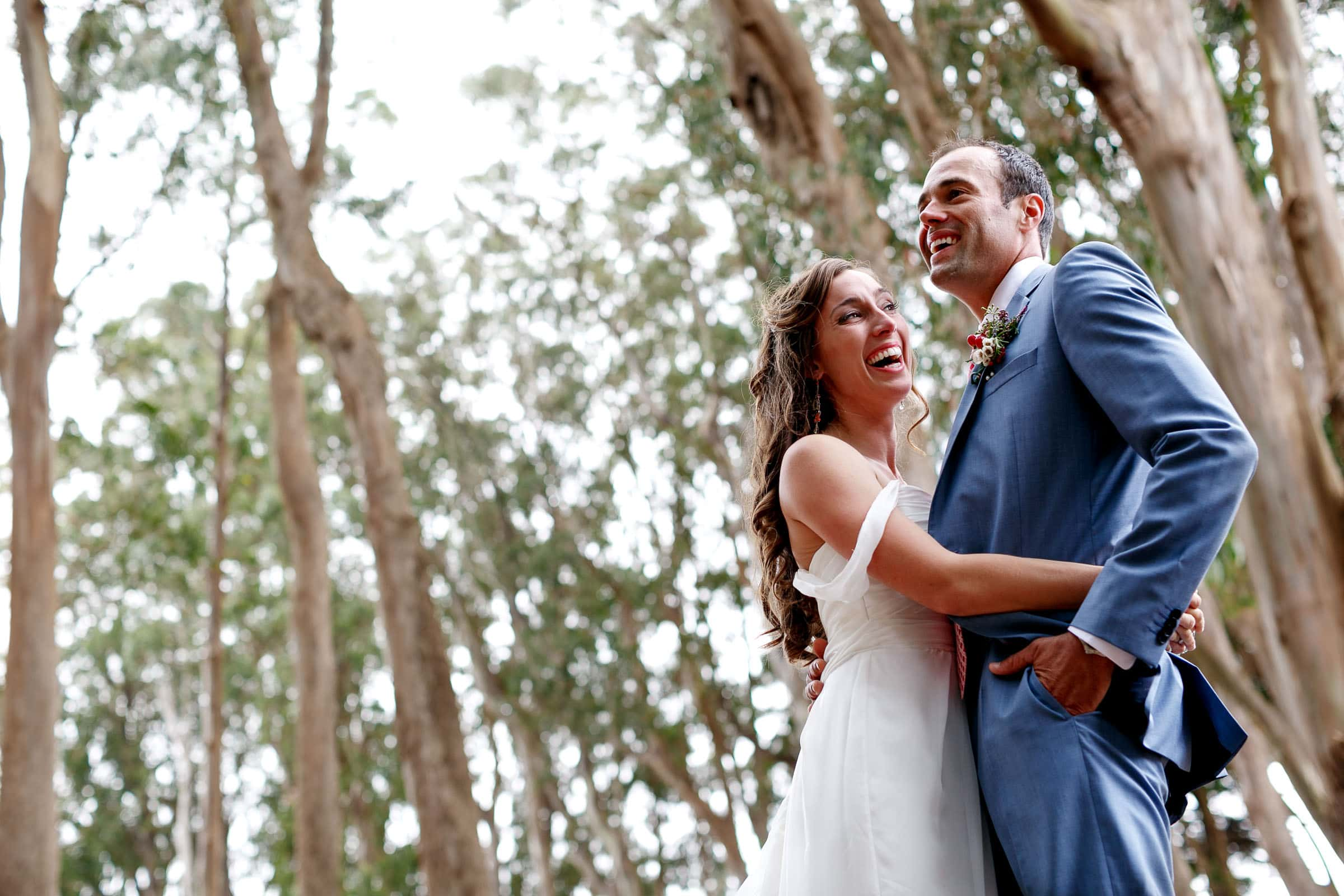 A happy bride and groom in massive eucalyptus trees during their Mendocino Coast wedding at Spring Ranch