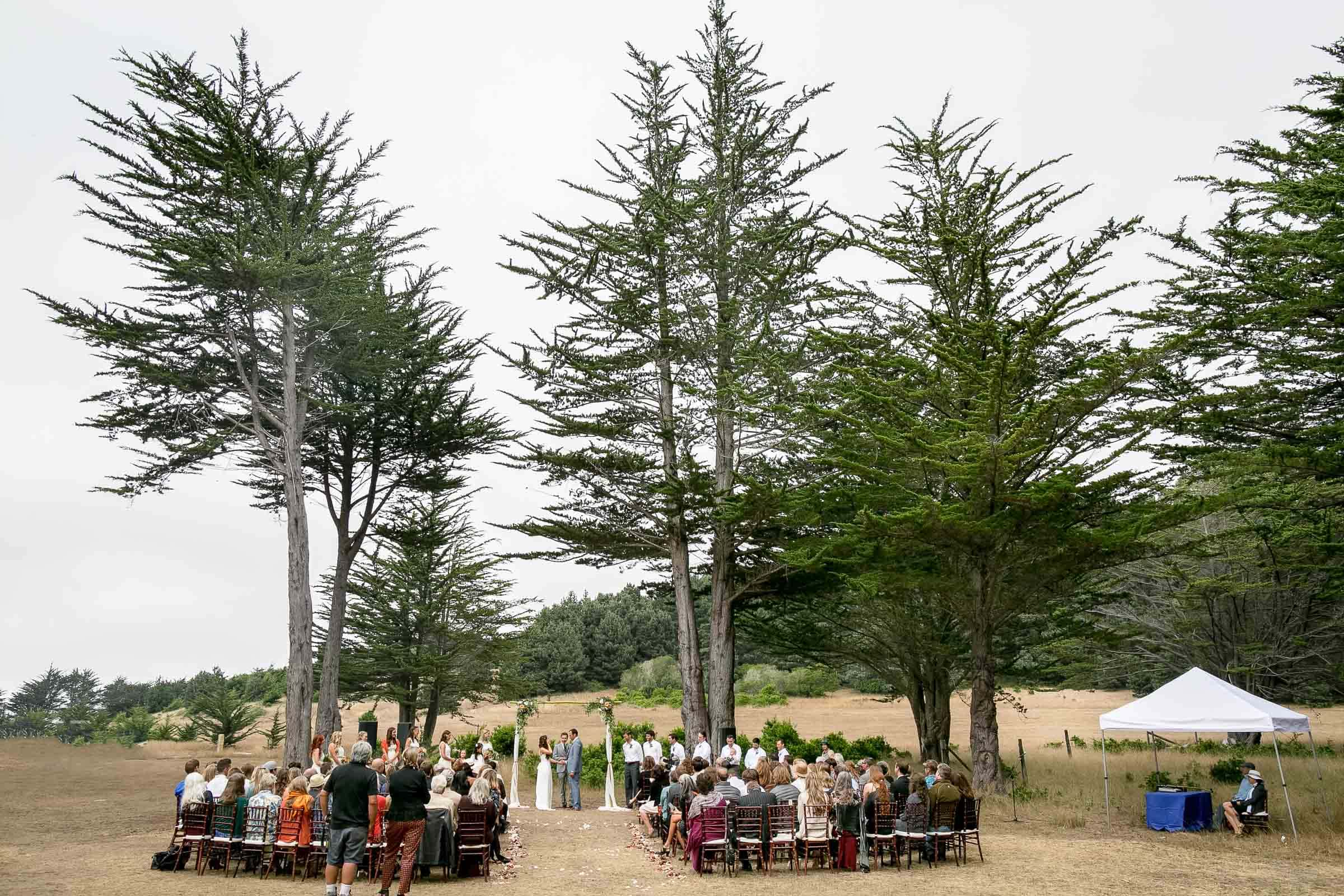 A wide angle perspective during a Mendocino Coast wedding ceremony at Spring Ranch