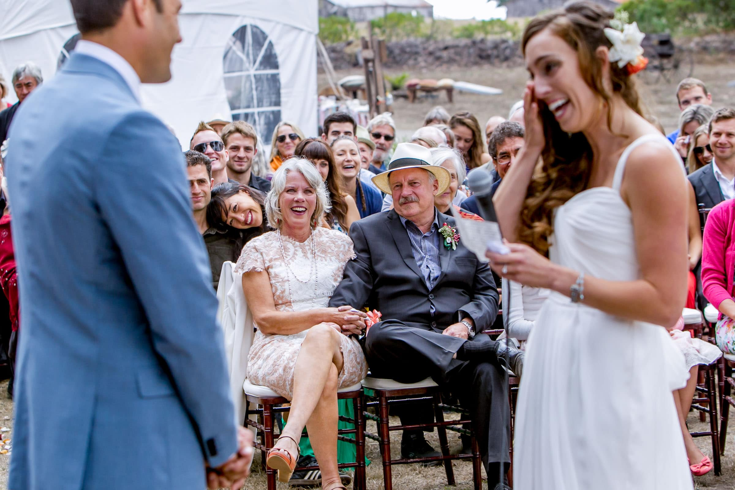 Emotional family and friends watching the exchange of vows during a Mendocino Coast wedding ceremony at Spring Ranch