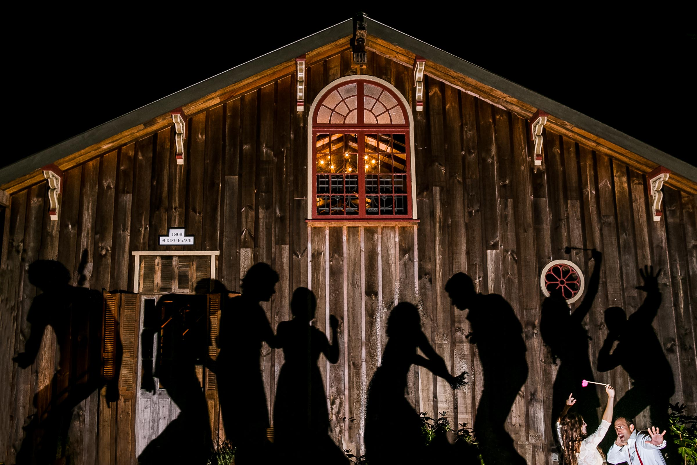 Big silhouette shadows cast on a barn wall during a Mendocino Coast wedding reception at Spring Ranch