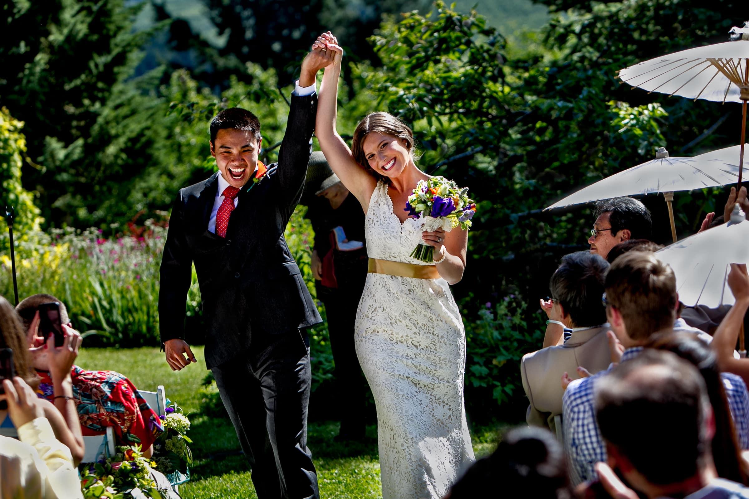 Bride and groom exiting their Mt Hood Organic Farms Wedding ceremony