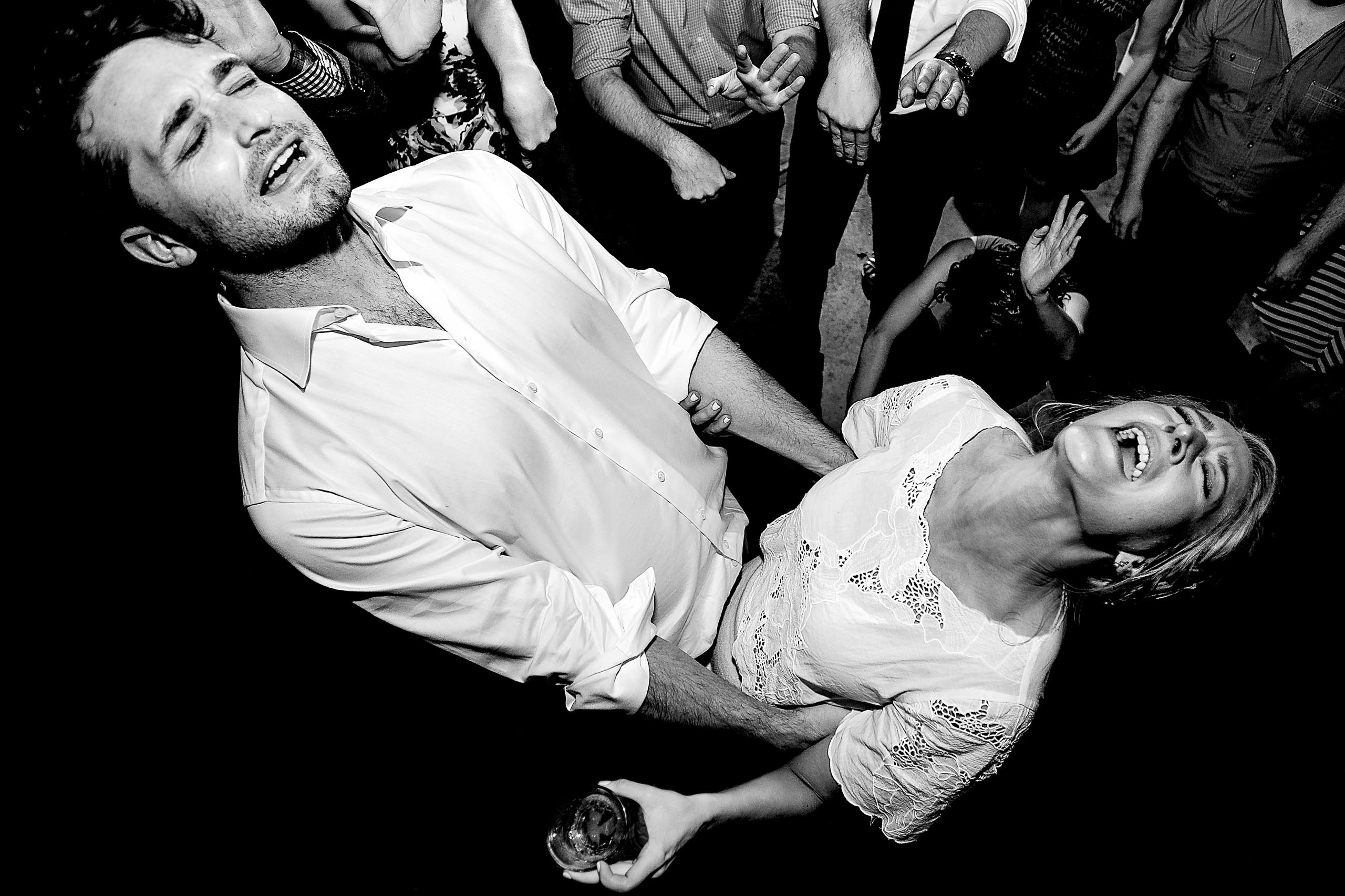Epic dancing photo of bride and groom on the dace-floor during their Sonoma Wine Country wedding reception