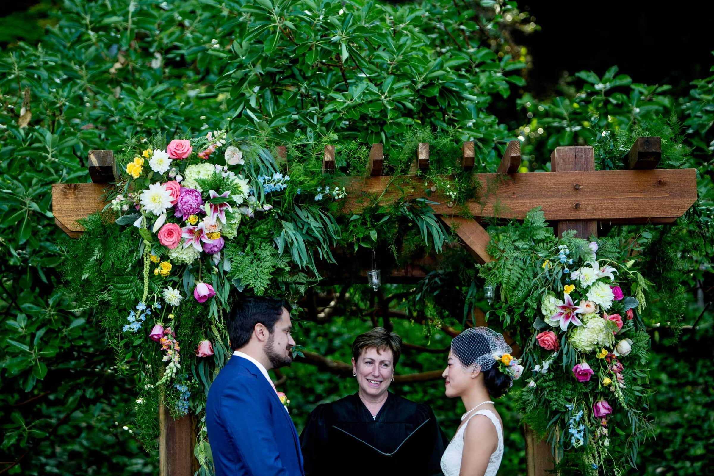 Bride and Groom exchanging vows during a private Seattle elopement ceremony