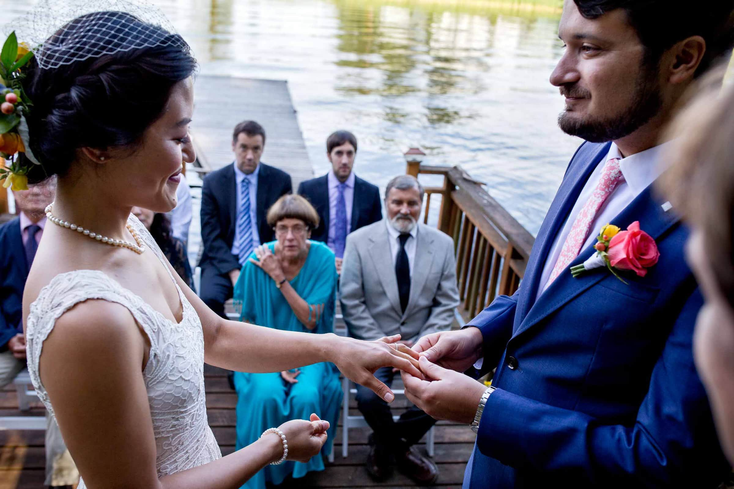 Bride and Groom exchanging rings during a private Seattle elopement ceremony
