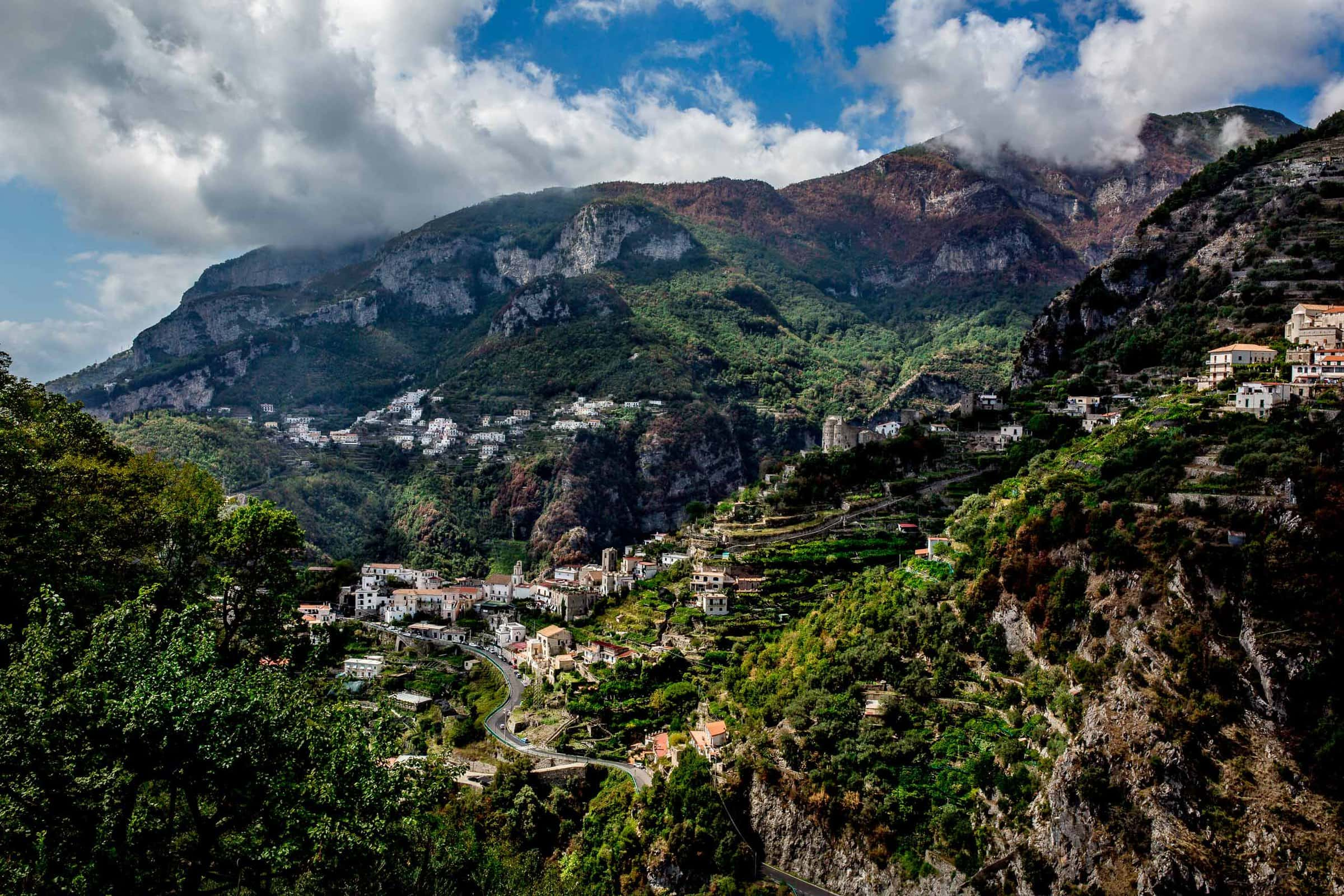 Ravello elopement backdrop view from Villa Cimbrone along the Amafi Coast in Italy