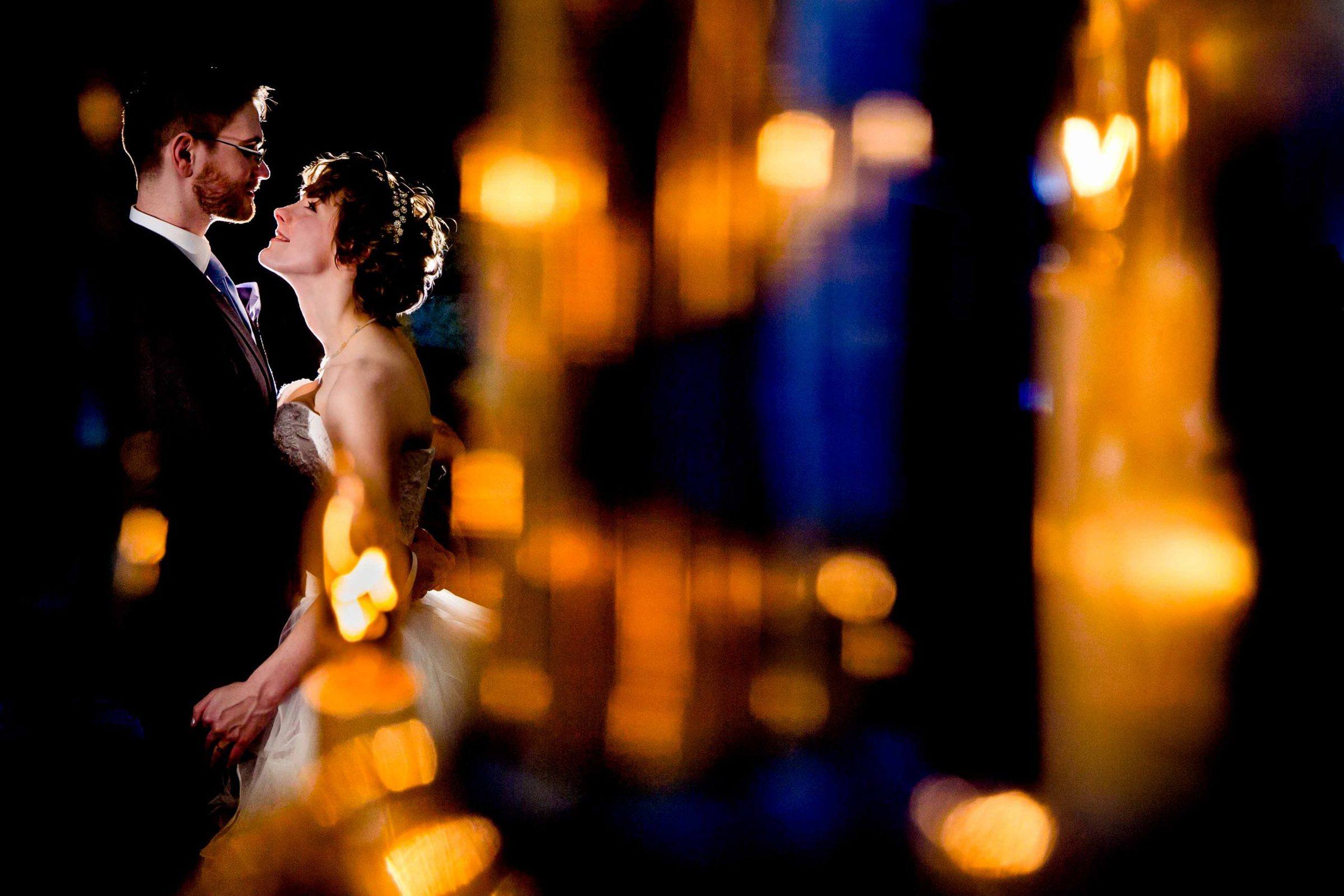A very creative bride and groom portrait at Portland White House wedding reception