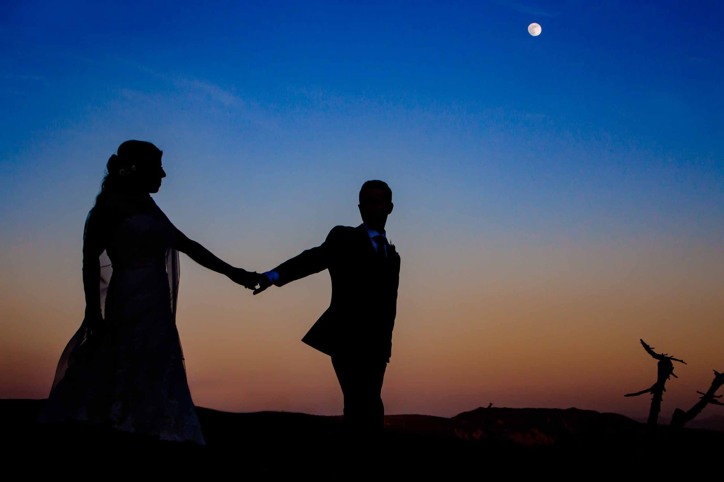 Bride and Groom Silhouette photo while walking over sunset view at Timberline Lodge