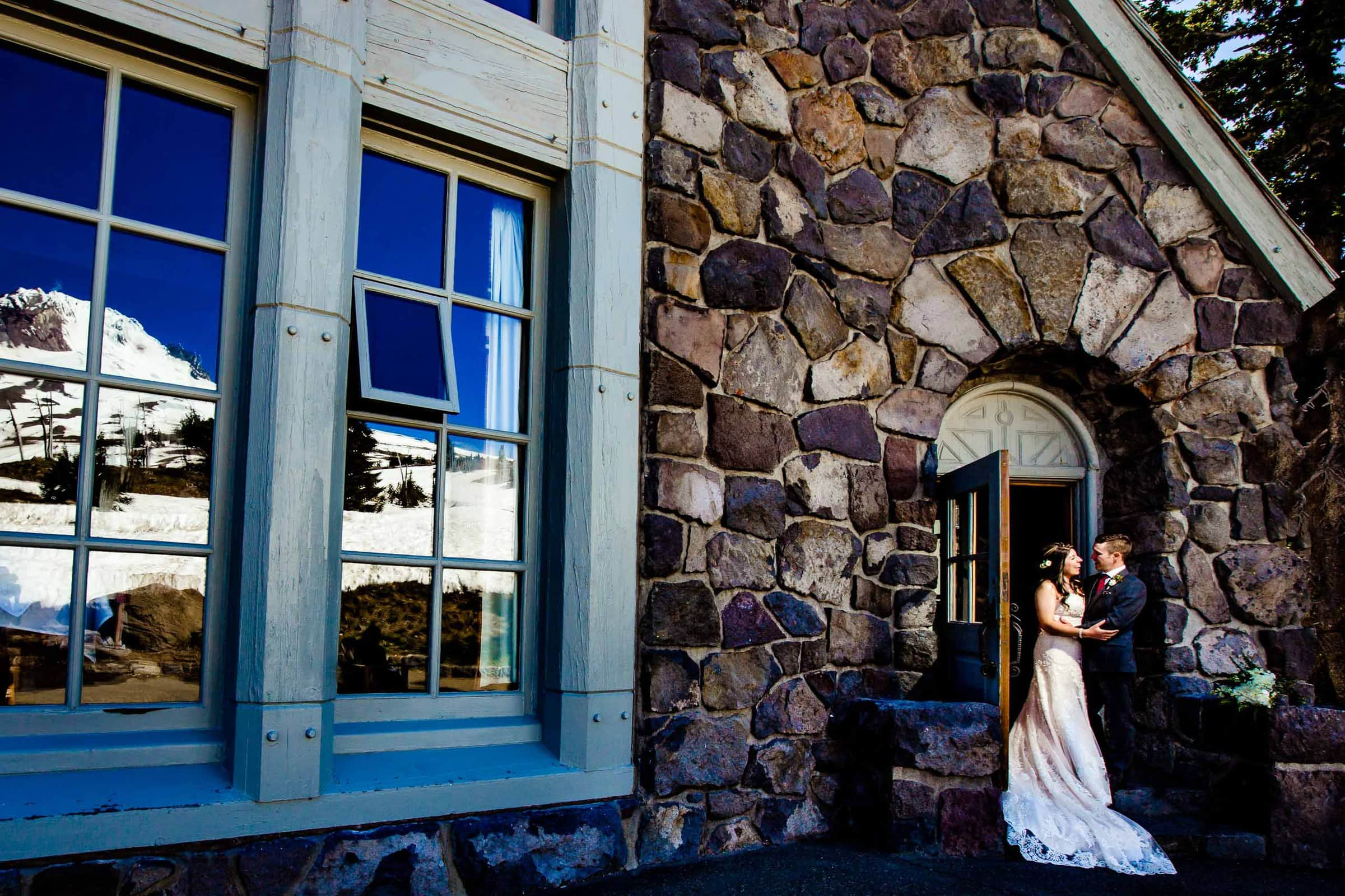 Bride and groom emotionally seeing each other before their Timberline Lodge Wedding