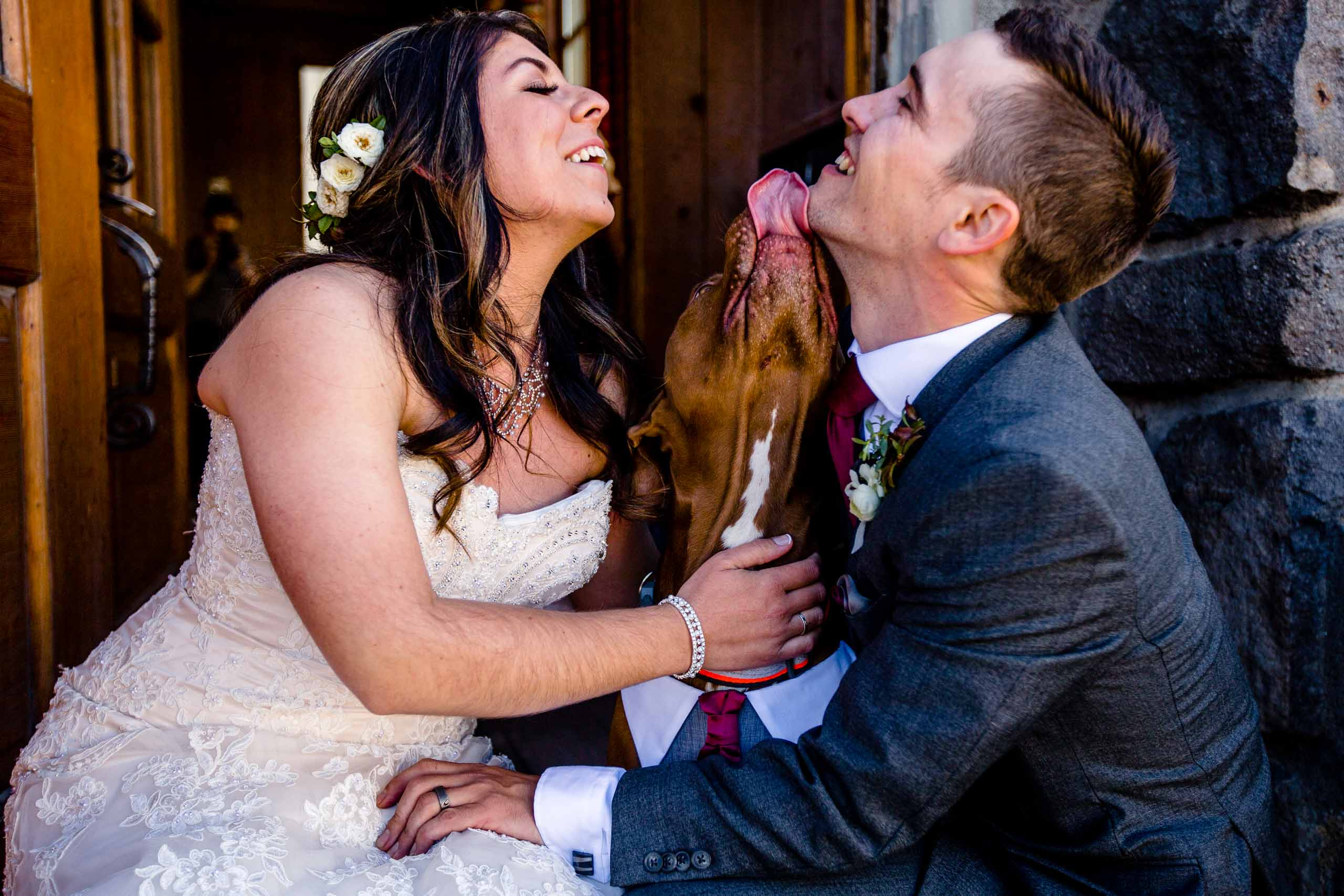 Bride and groom getting kissed by their dog before their Timberline Lodge Wedding ceremony