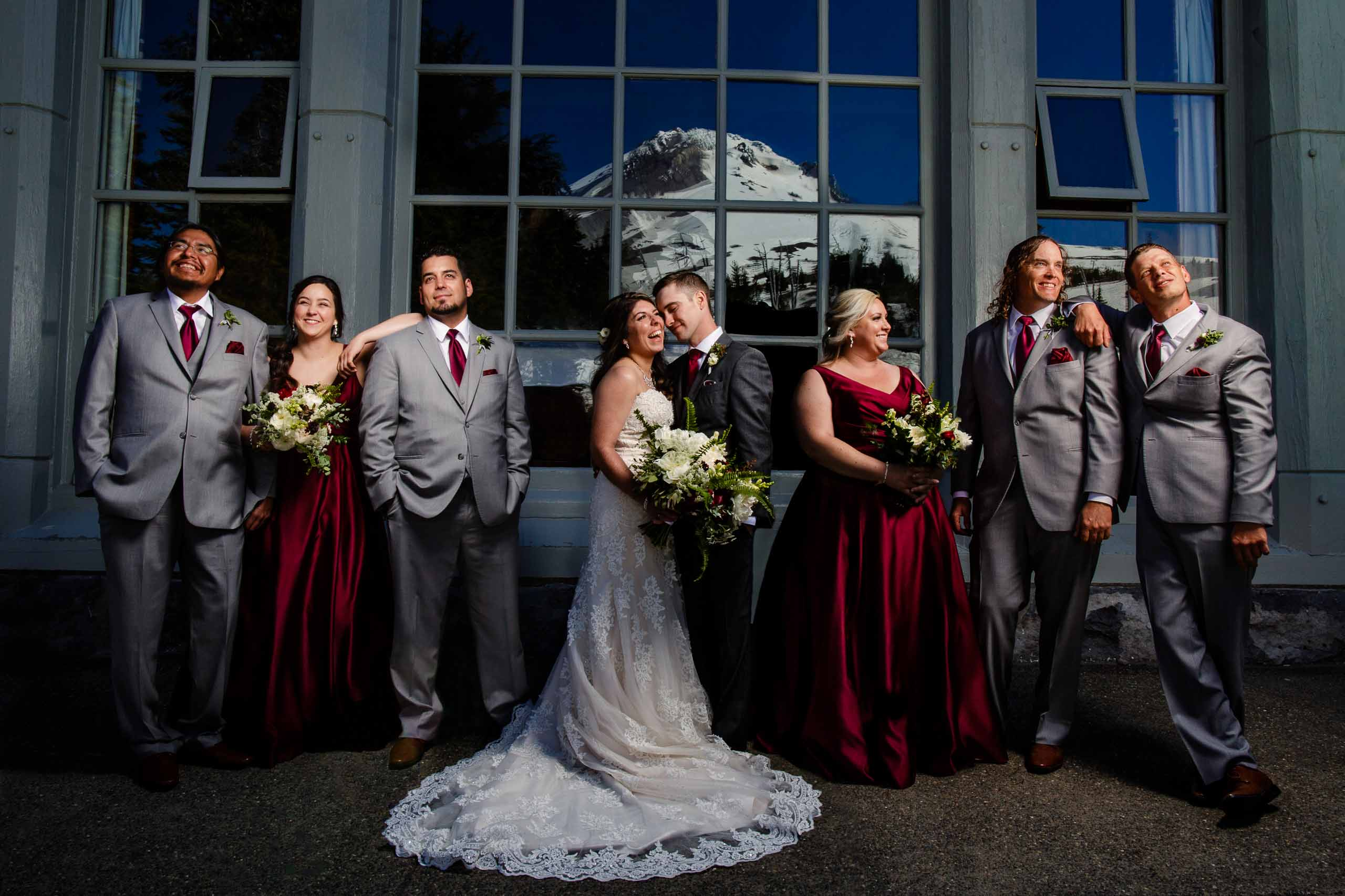 Excellent group portrait brilliantly lit at a Timberline Lodge Wedding atop Mt Hood