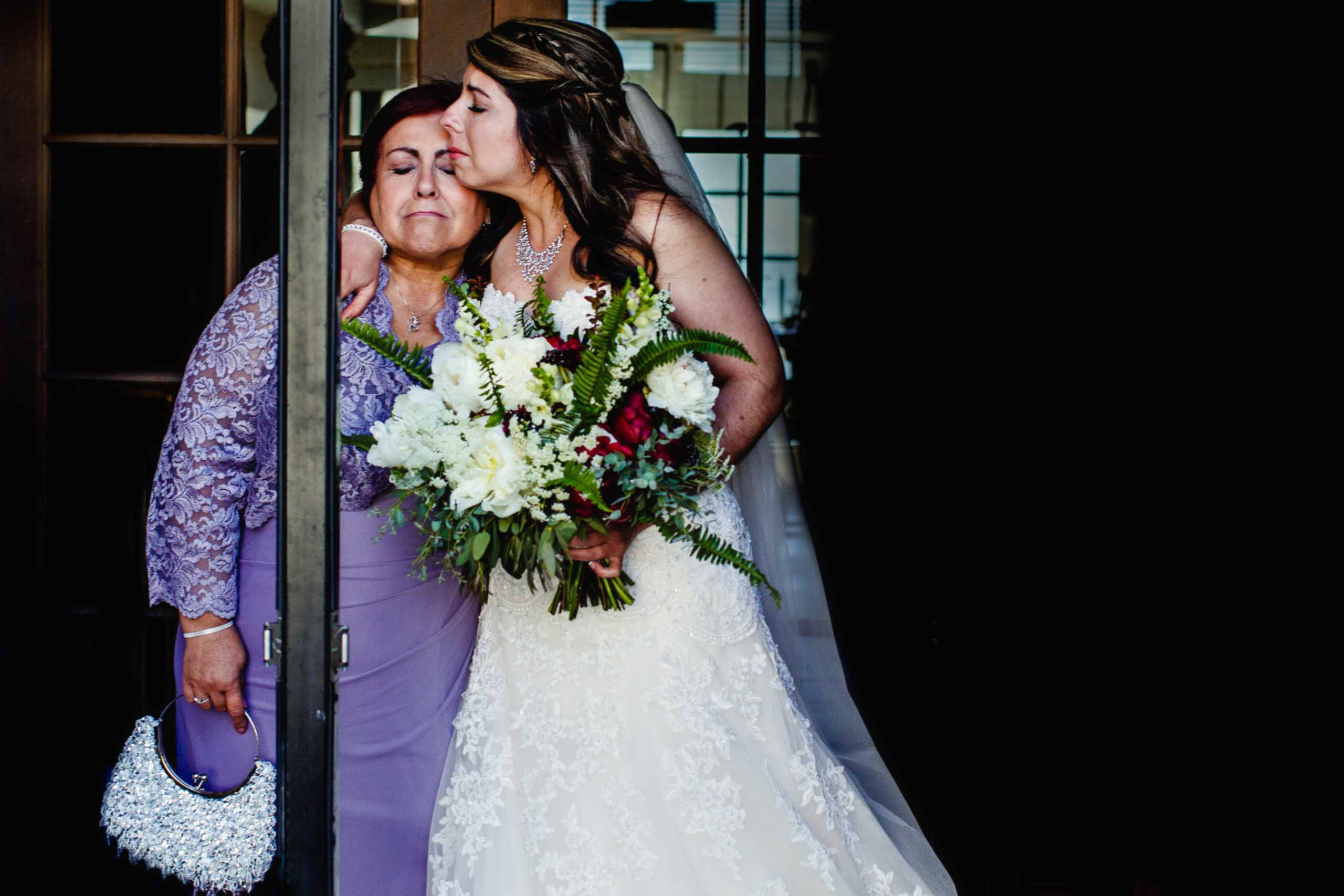 Emotional bride with her mother before her Timberline Lodge Wedding ceremony