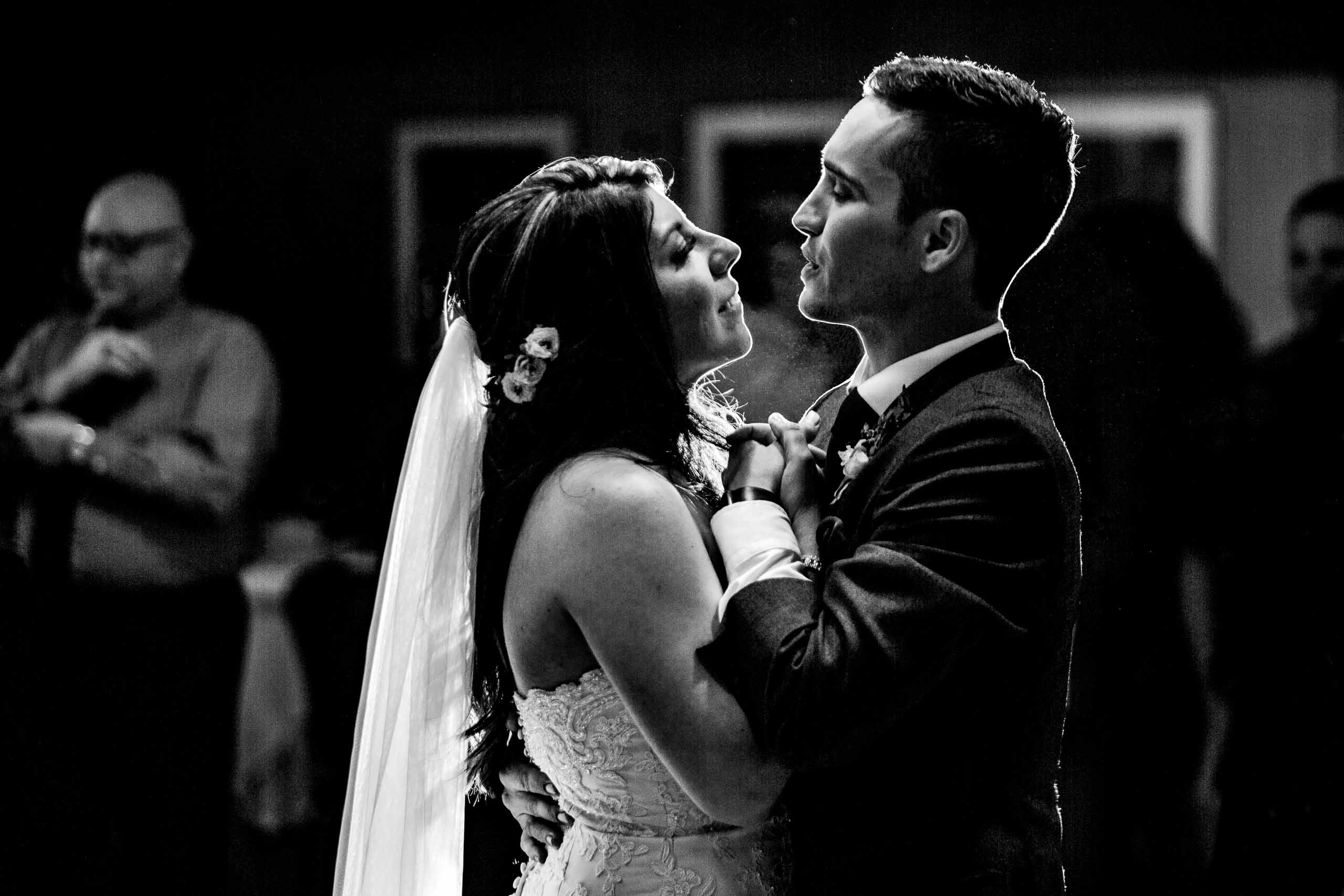 Bride and groom first dance during their Timberline Lodge Wedding reception