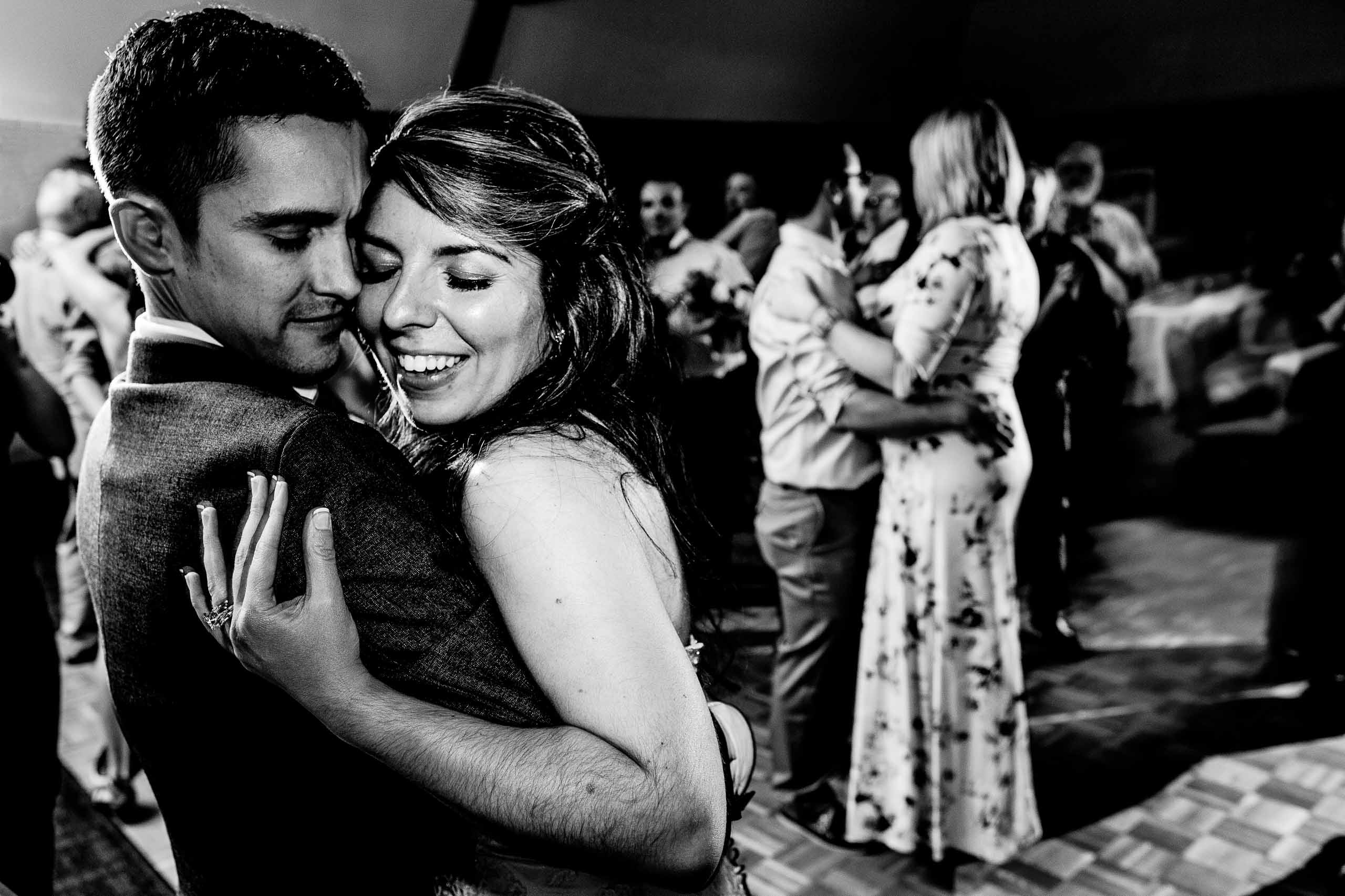 Bride and groom dancing with lots of connection during their Timberline Lodge Wedding reception
