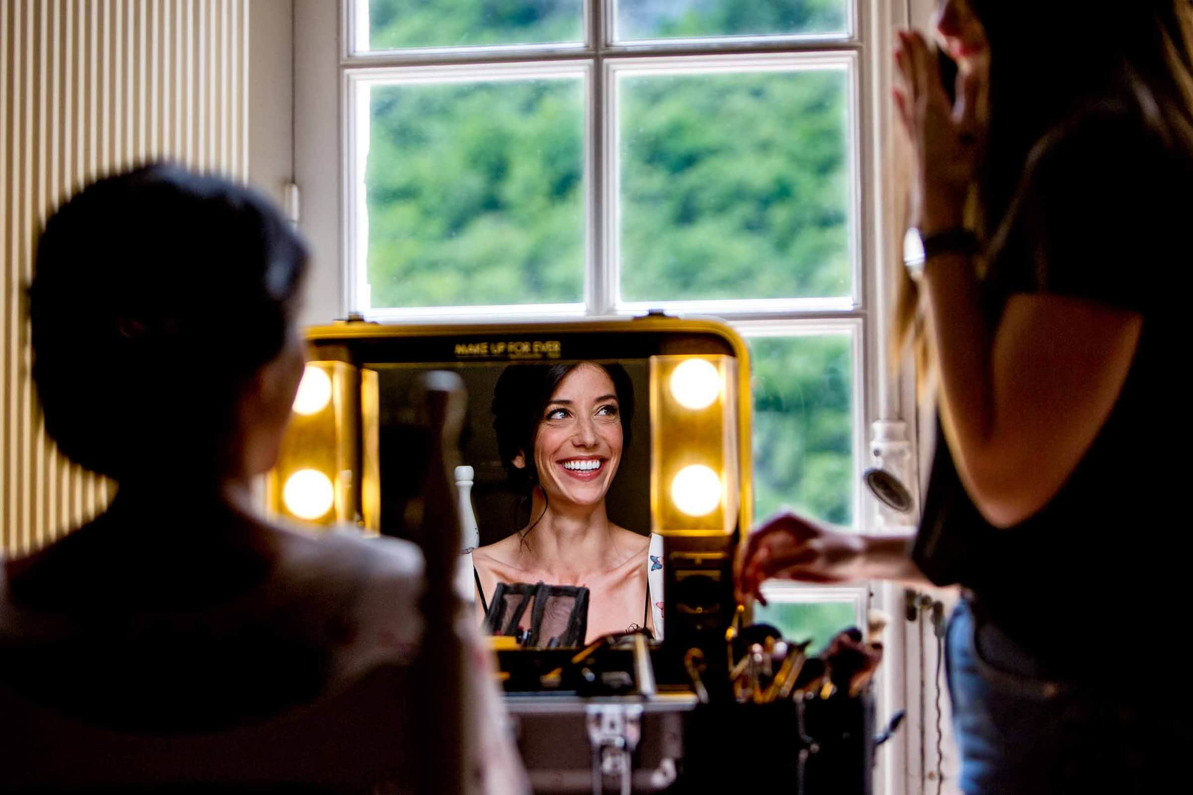 Creative photo of bride getting ready for her Chateau Zen Wedding in the south of France near Montpelier.