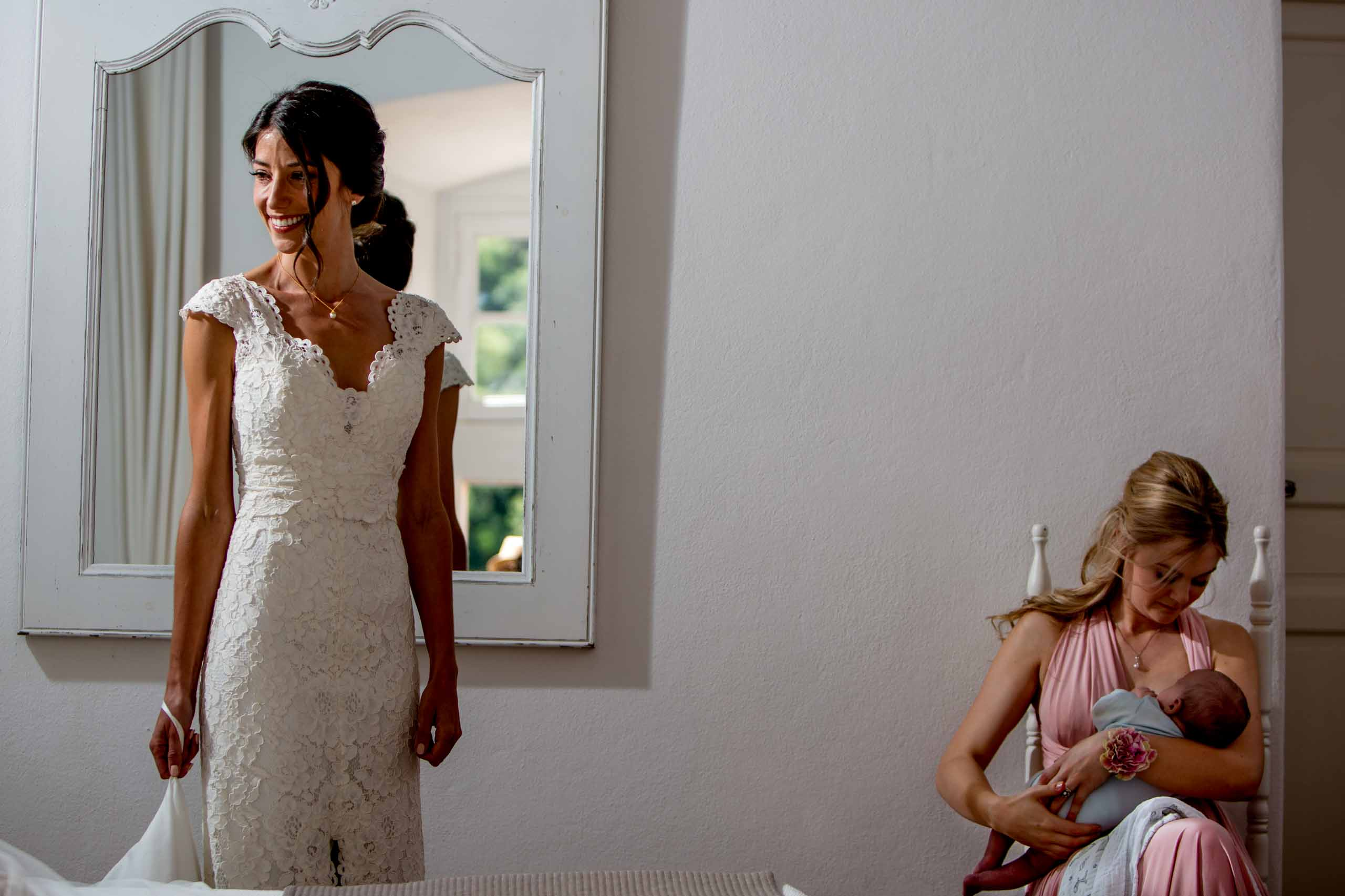 Bride getting ready for her Chateau Zen wedding in the South of France near Montepelier.