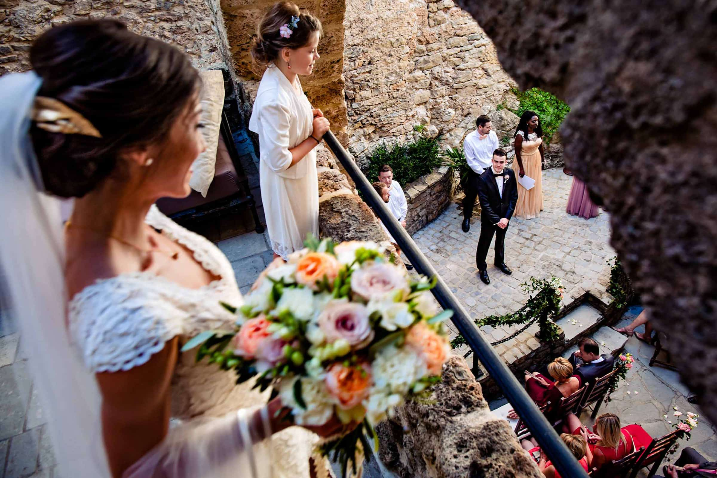 Bride and Groom seeing each other during their Chateau Zen wedding ceremony in the South of France.