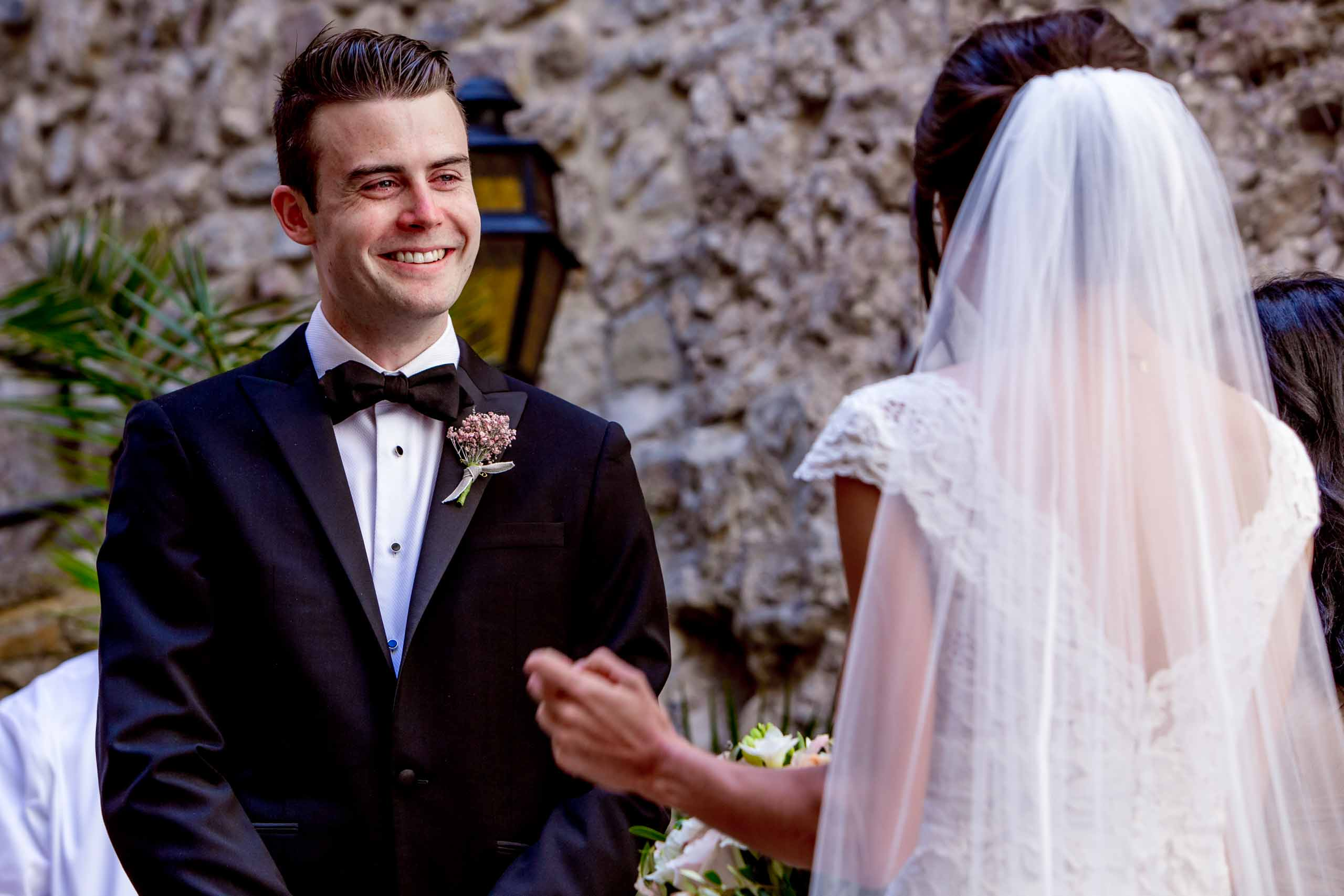 Emotional groom sharing vows during a Chateau Zen wedding ceremony in the South of France near Montepelier.