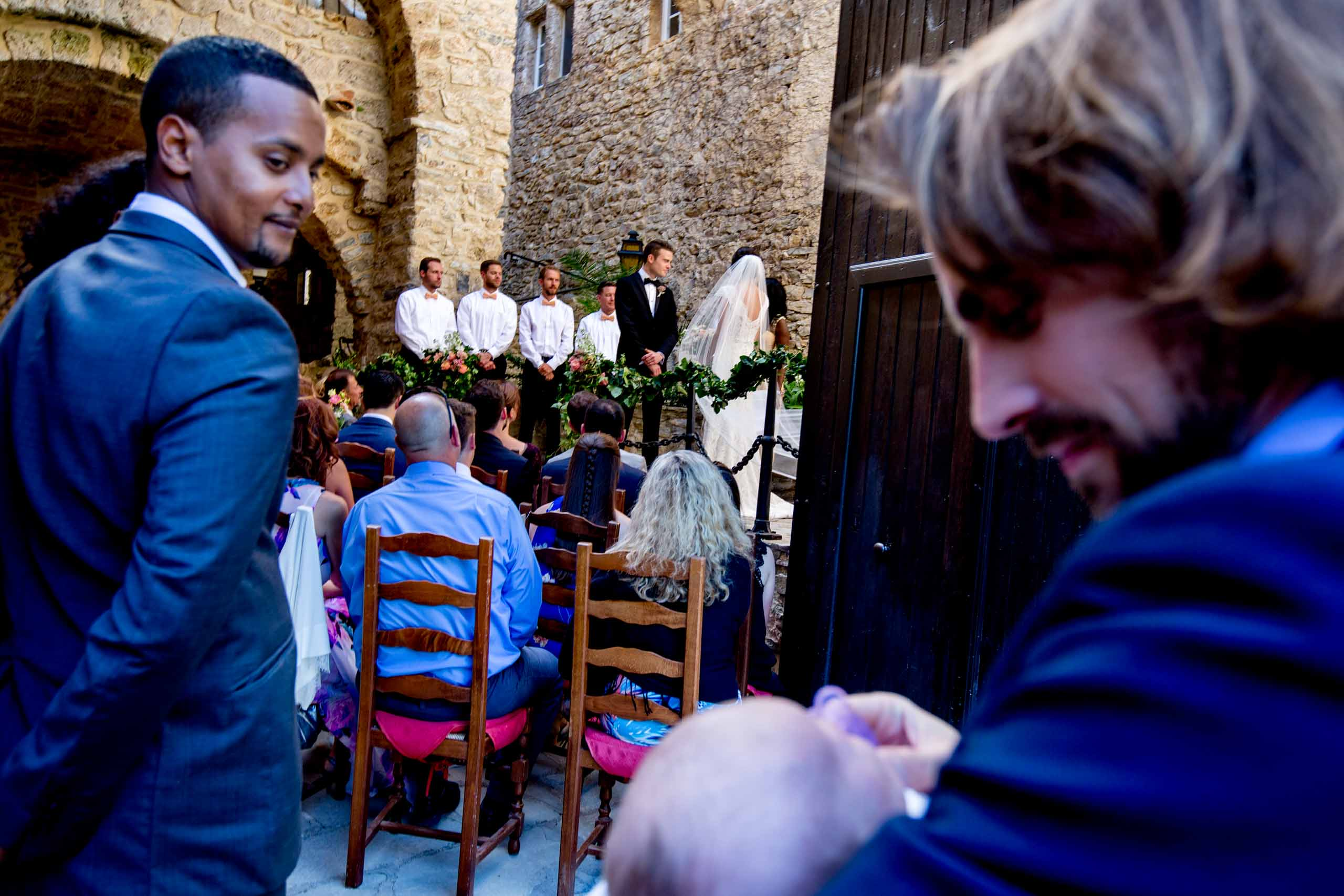 A Chateau Zen wedding ceremony in the South of France near Montepelier.