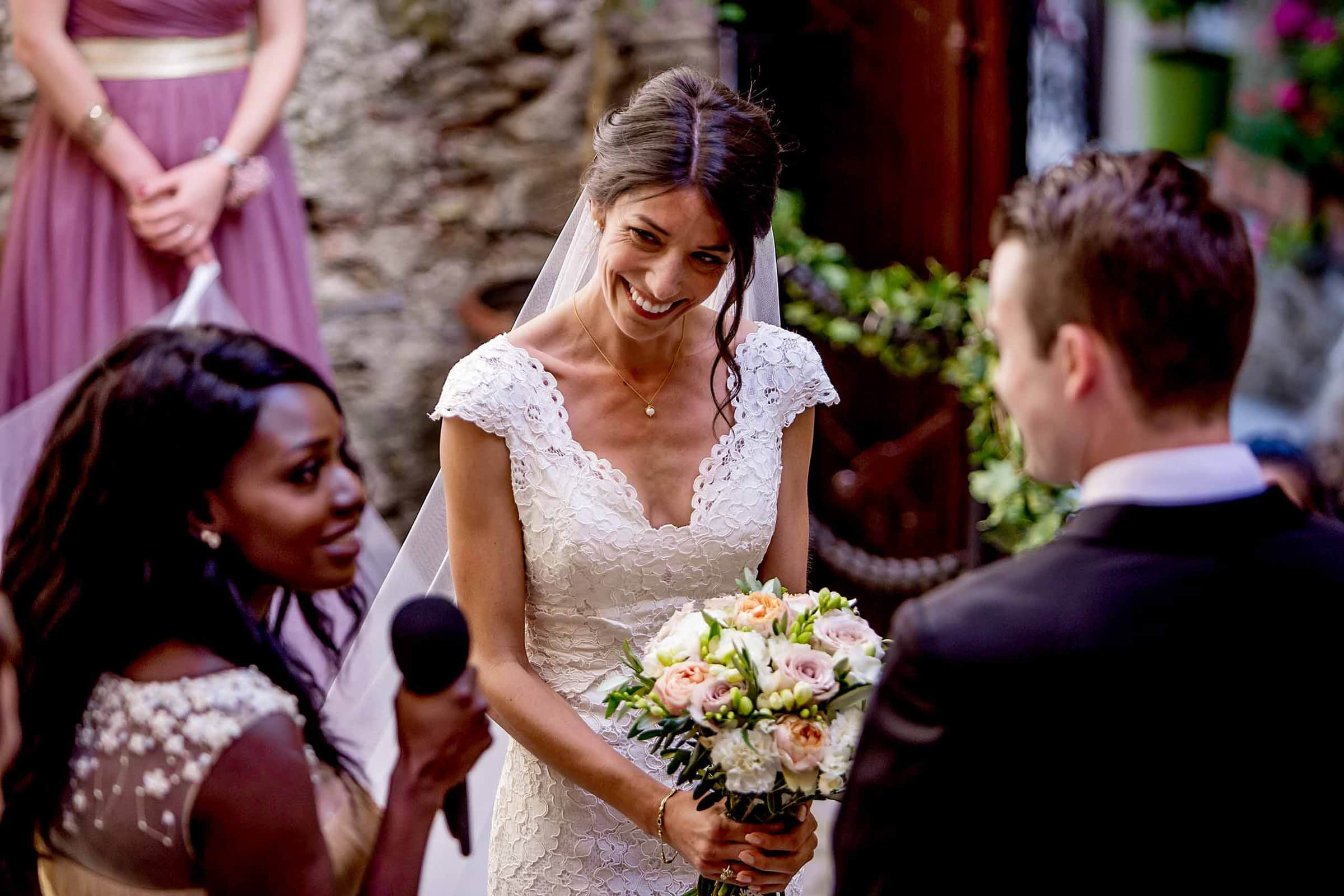 A happy bride during a Chateau Zen wedding ceremony in the South of France near Montepelier.