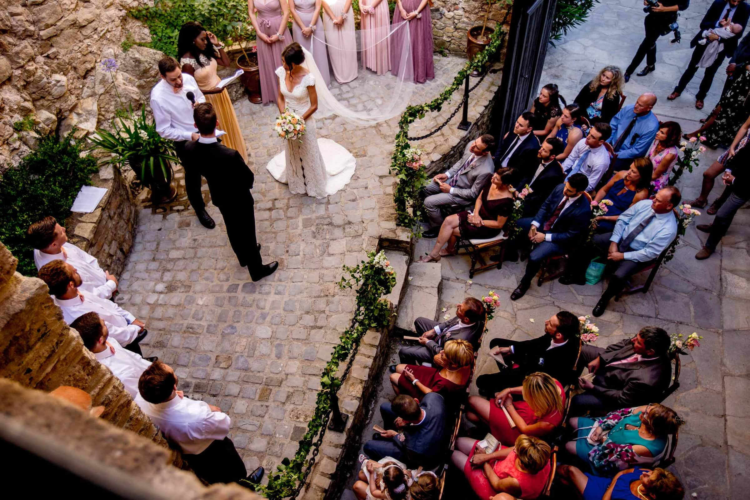 High view of a gorgeous Chateau Zen wedding ceremony in the south of France near Montepelier.