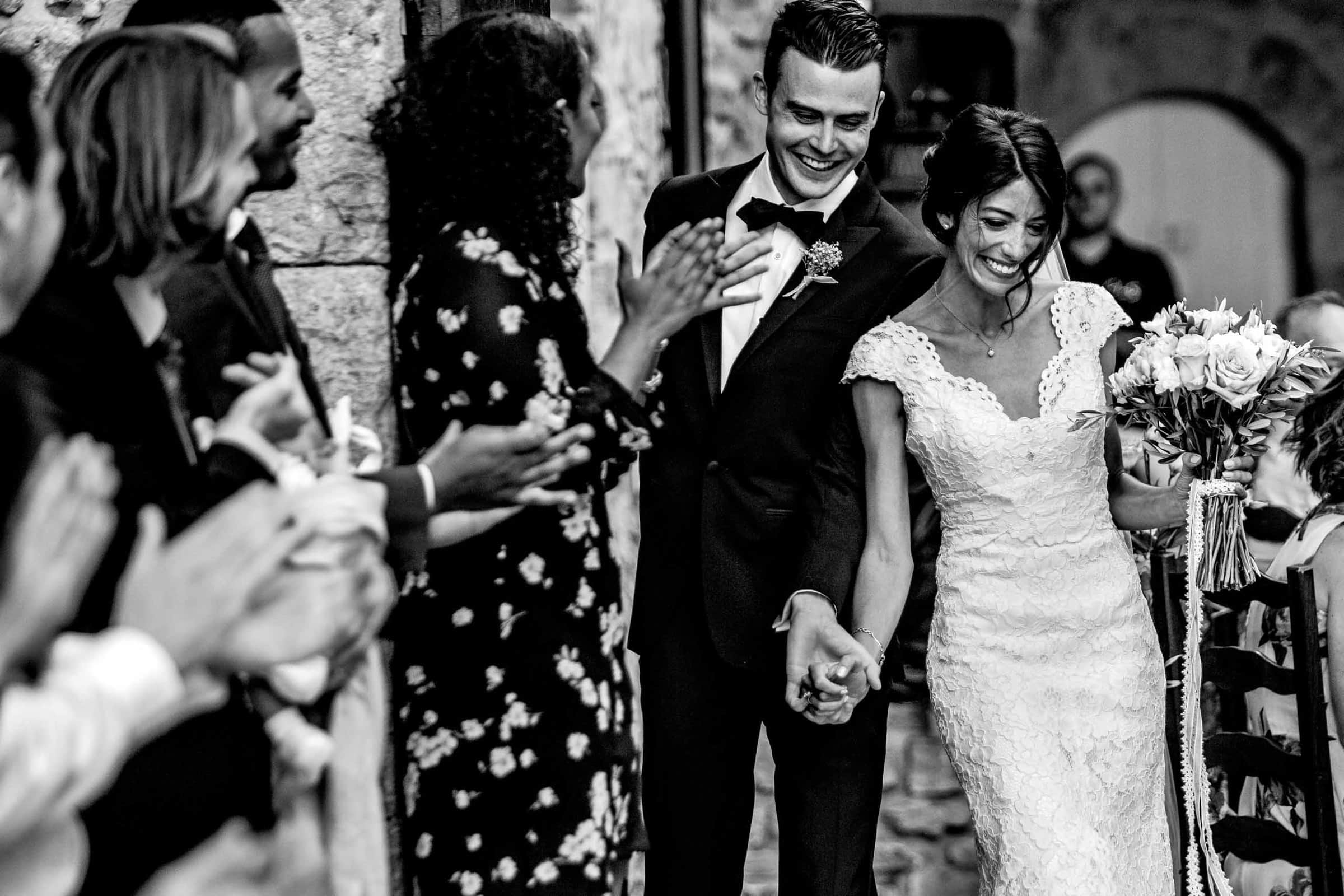 Ecstatic moment between bride and groom during a gorgeous Chateau Zen wedding ceremony in the south of france