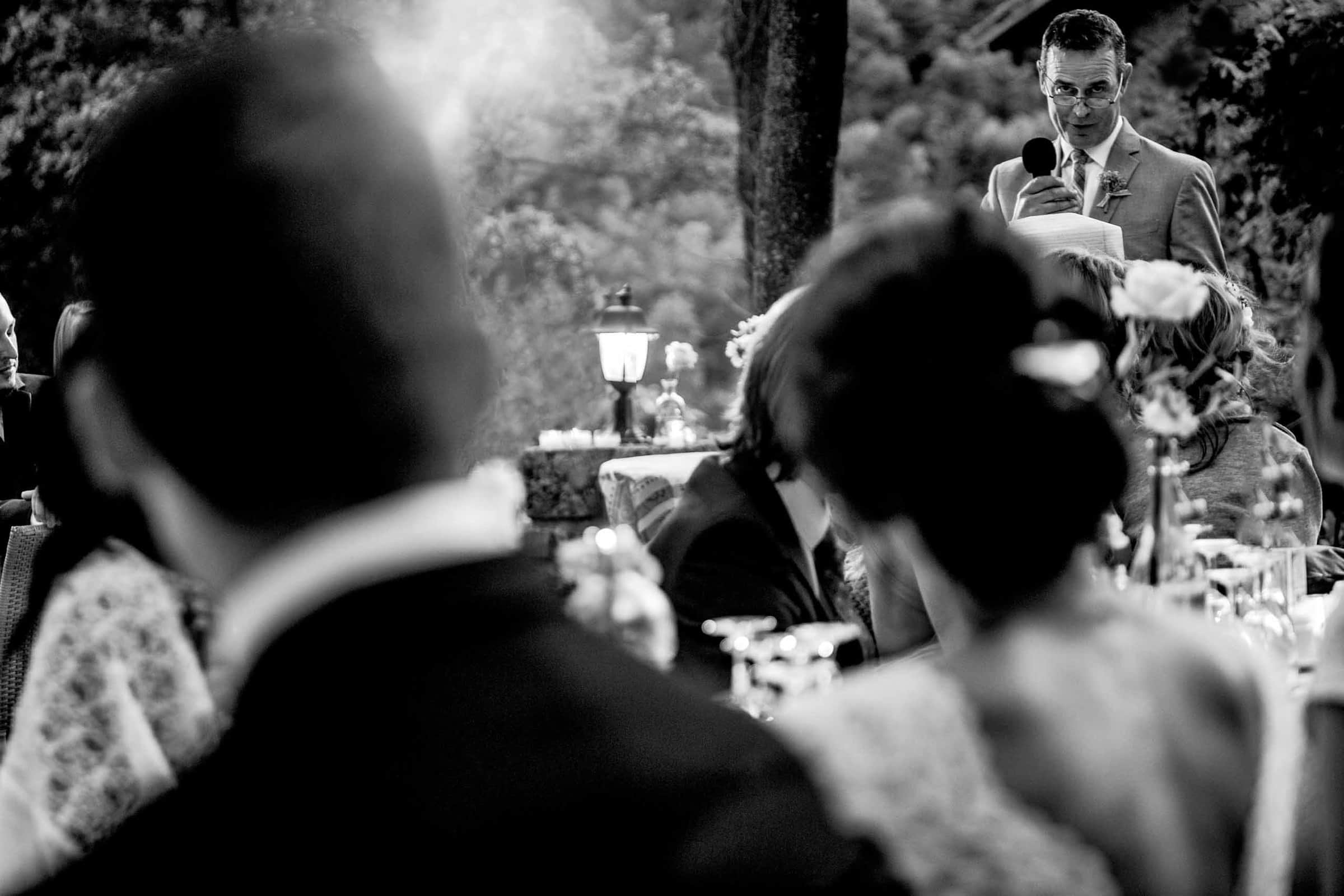 Fathers speech at a Chateau Zen wedding in the South of France near Montepelier.