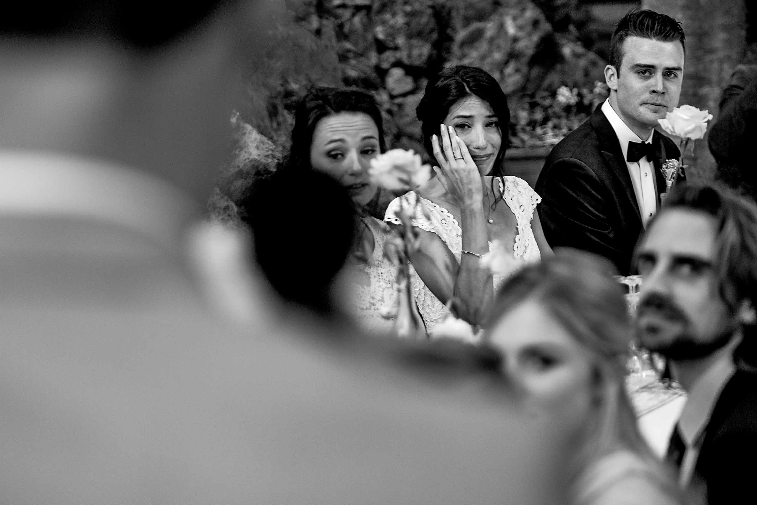 Emotional speeches by the father of the groom to the bride at a Chateau Zen wedding in the South of France