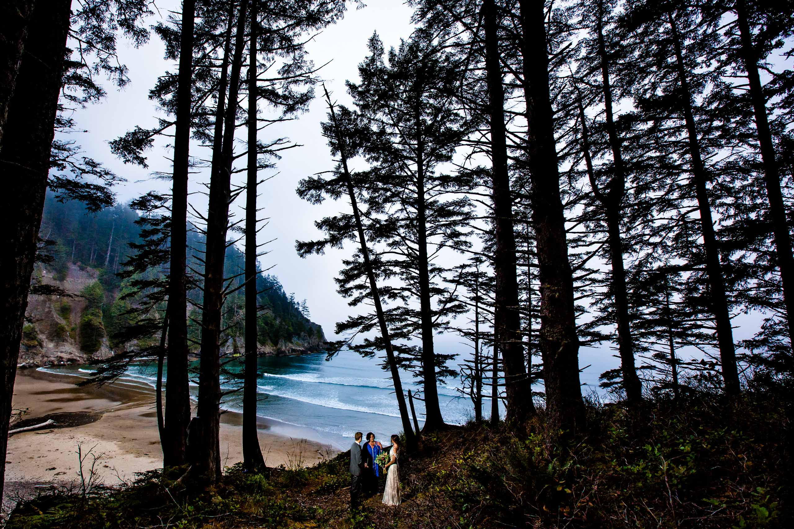 Bride and groom standing at their Oregon Coast Elopement ceremony