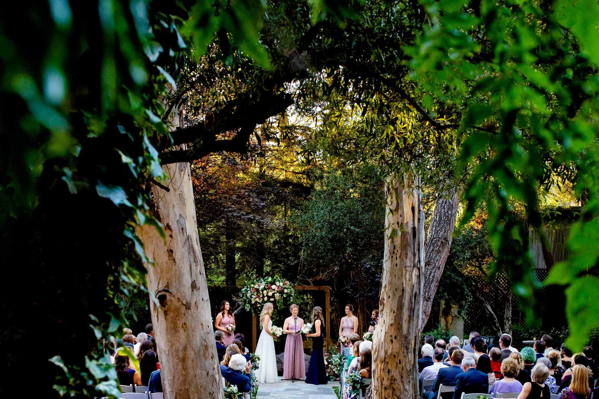 Two brides getting married in Malibu California during their Calamigos Ranch Wedding
