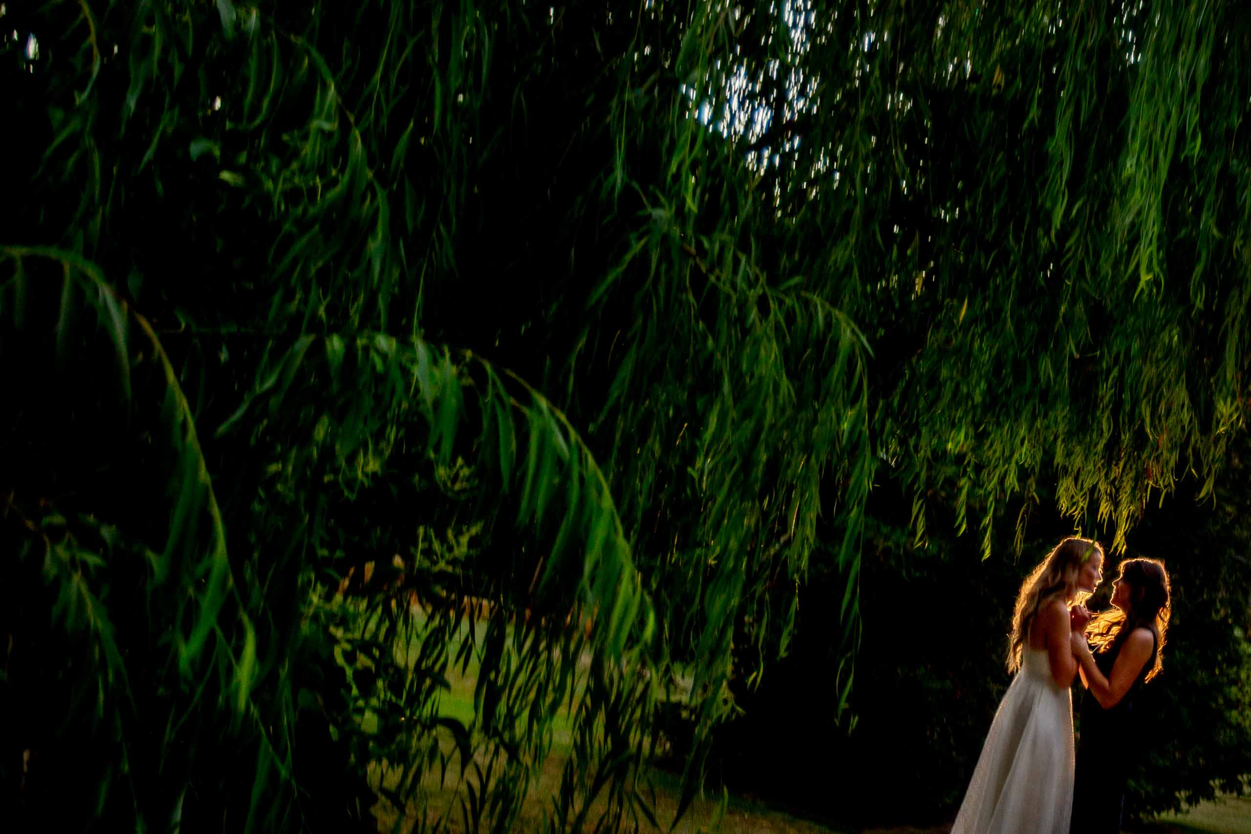 Two brides beautifully back lit with warm light during their Calamigos Ranch Wedding