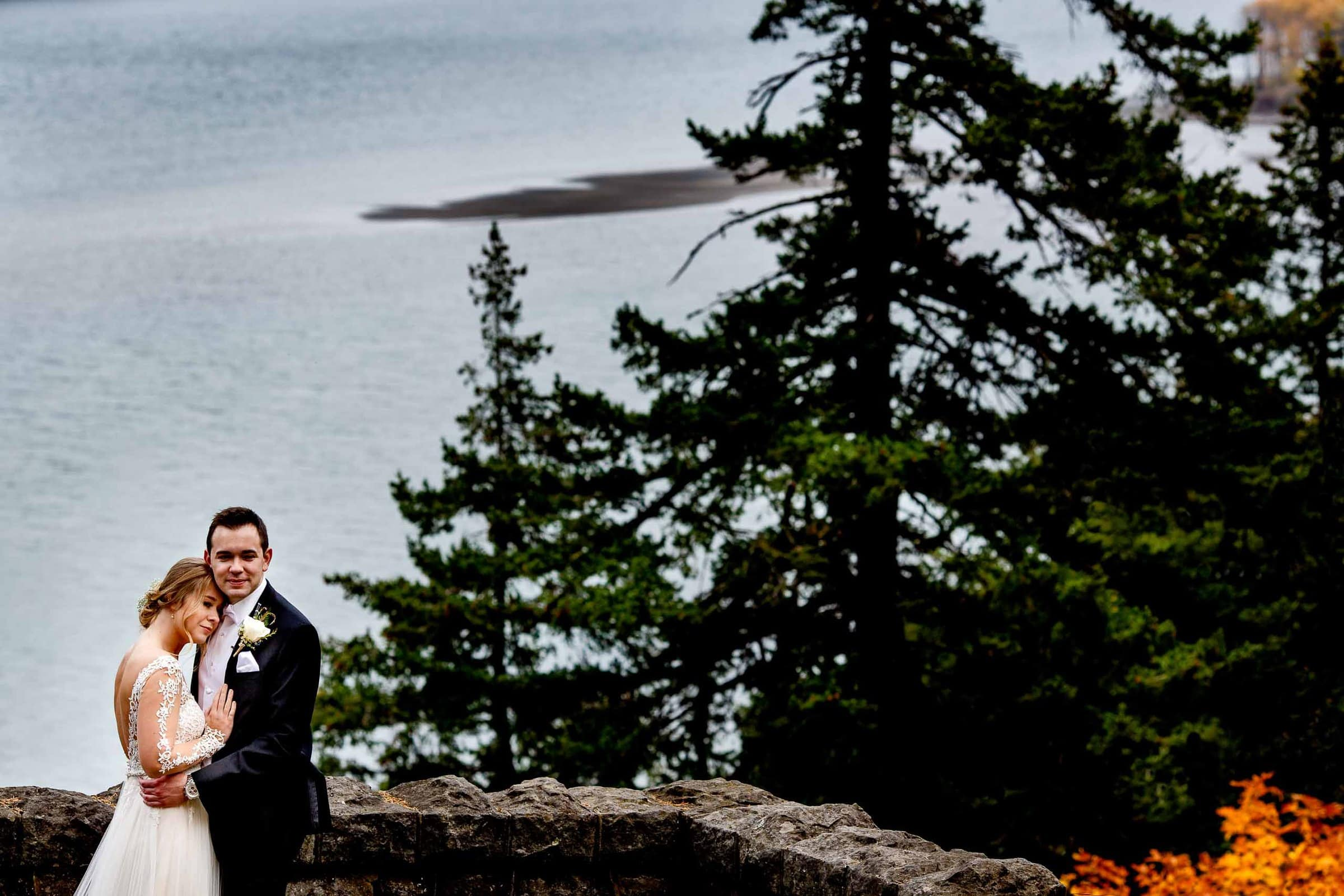Bride and groom seeing each other moments before their Columbia Gorge Wedding ceremony in Hood River, Oregon