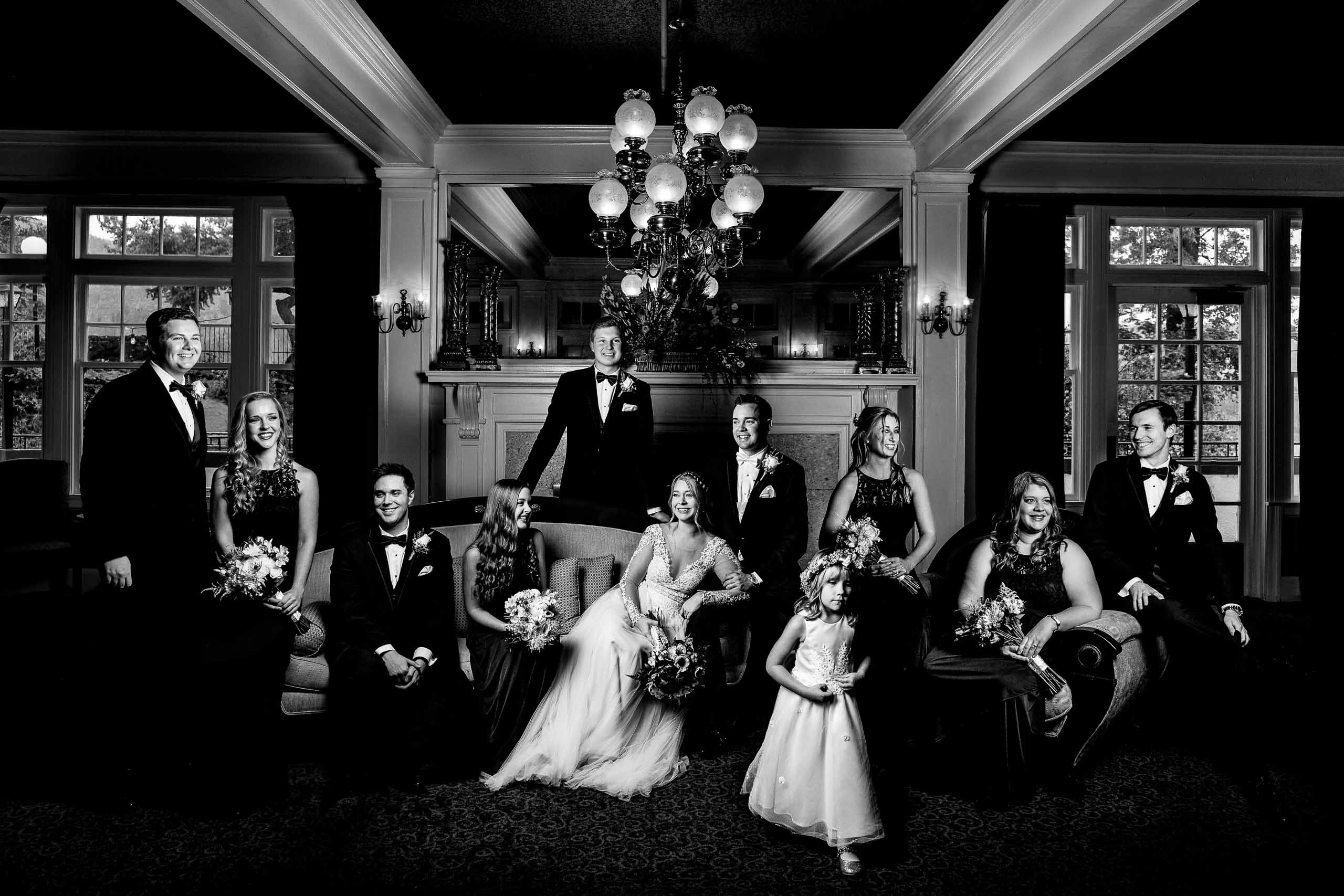 Bridal party photo at the Columbia Gorge Hotel near Hood River Oregon