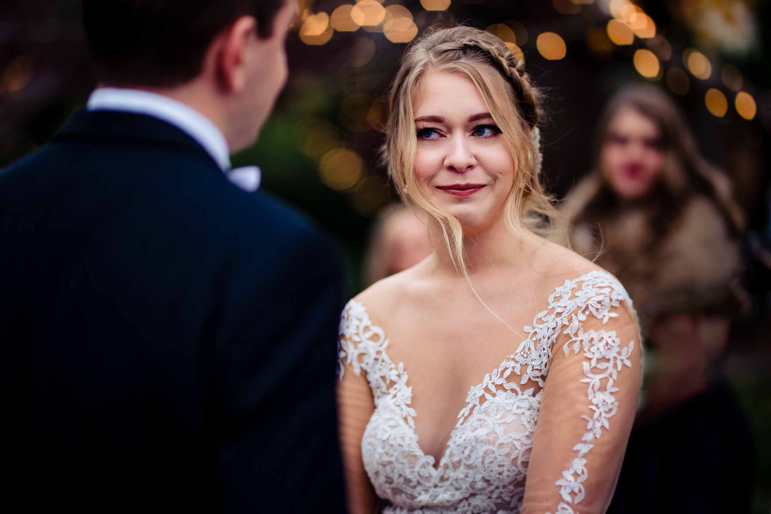 Gorgeous bride and groom exchanging vows during their Columbia Gorge Hotel wedding ceremony