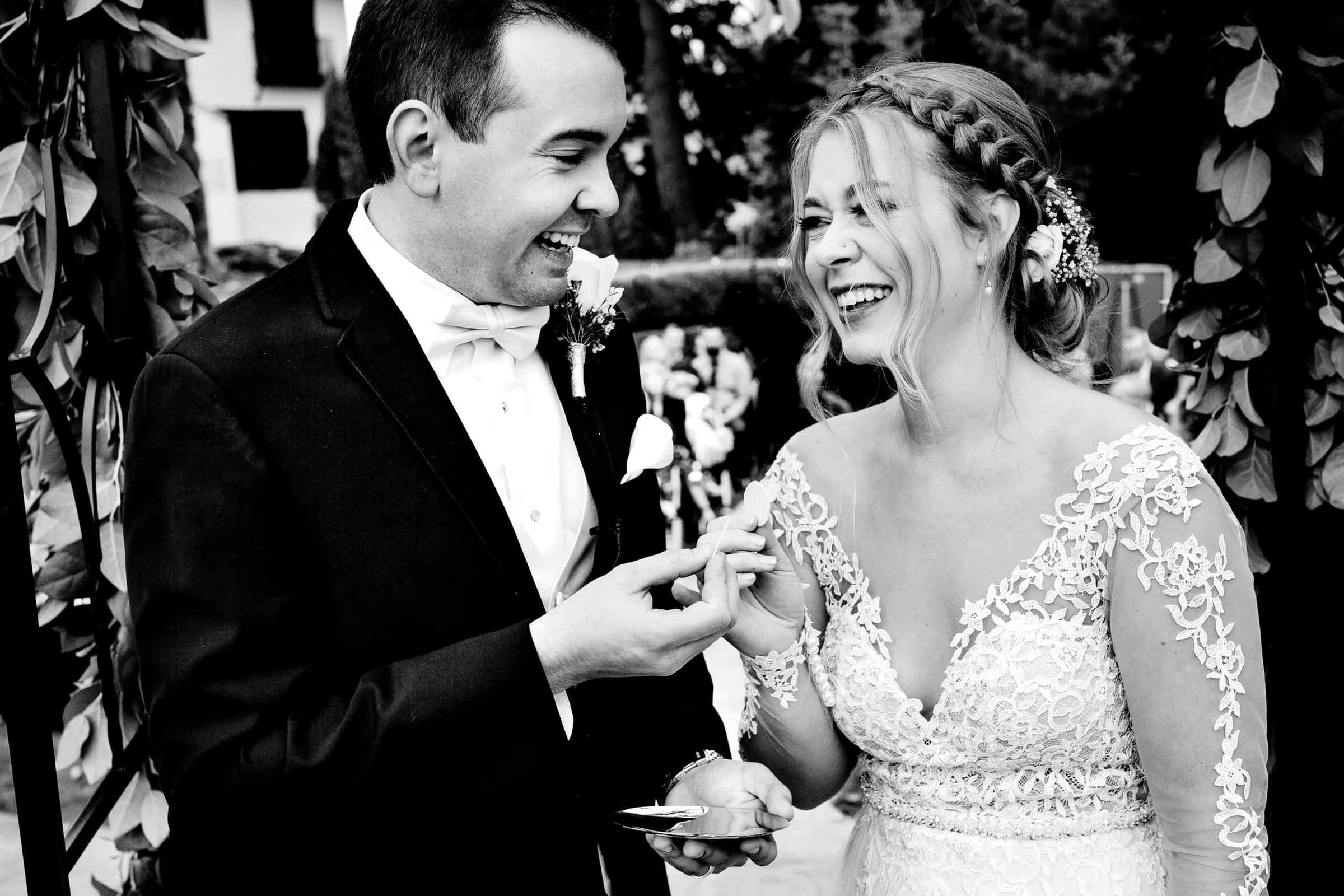 Bride and groom laughing together during their Columbia Gorge Wedding Ceremony in Hood River Oregon